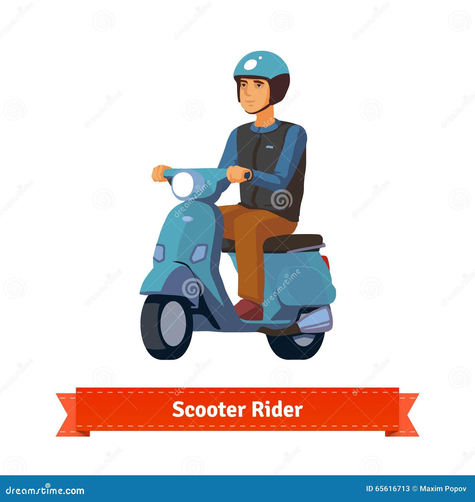 jeune homme sur un scooter avec le casque illustration de vecteur image 65616713. Black Bedroom Furniture Sets. Home Design Ideas