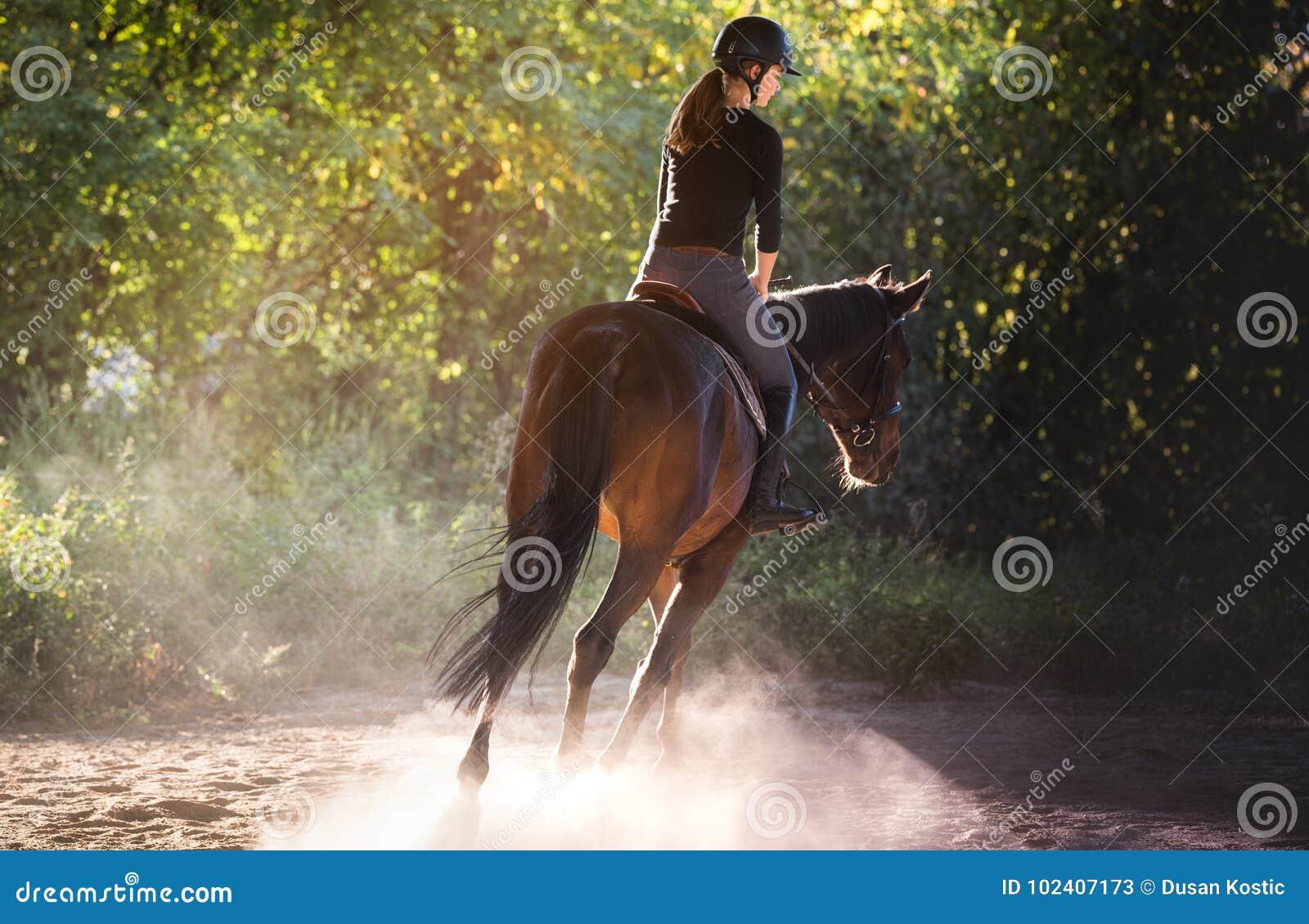 Jeune jolie fille montant un cheval avec les feuilles rétro-éclairées derrière