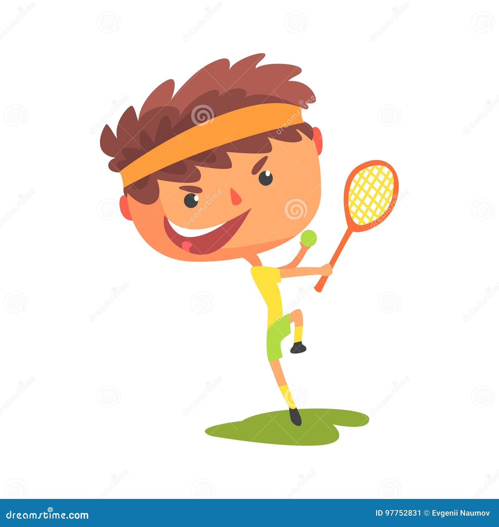Jeune joueur de tennis avec une raquette dans son illustration de vecteur de bande dessinée de main