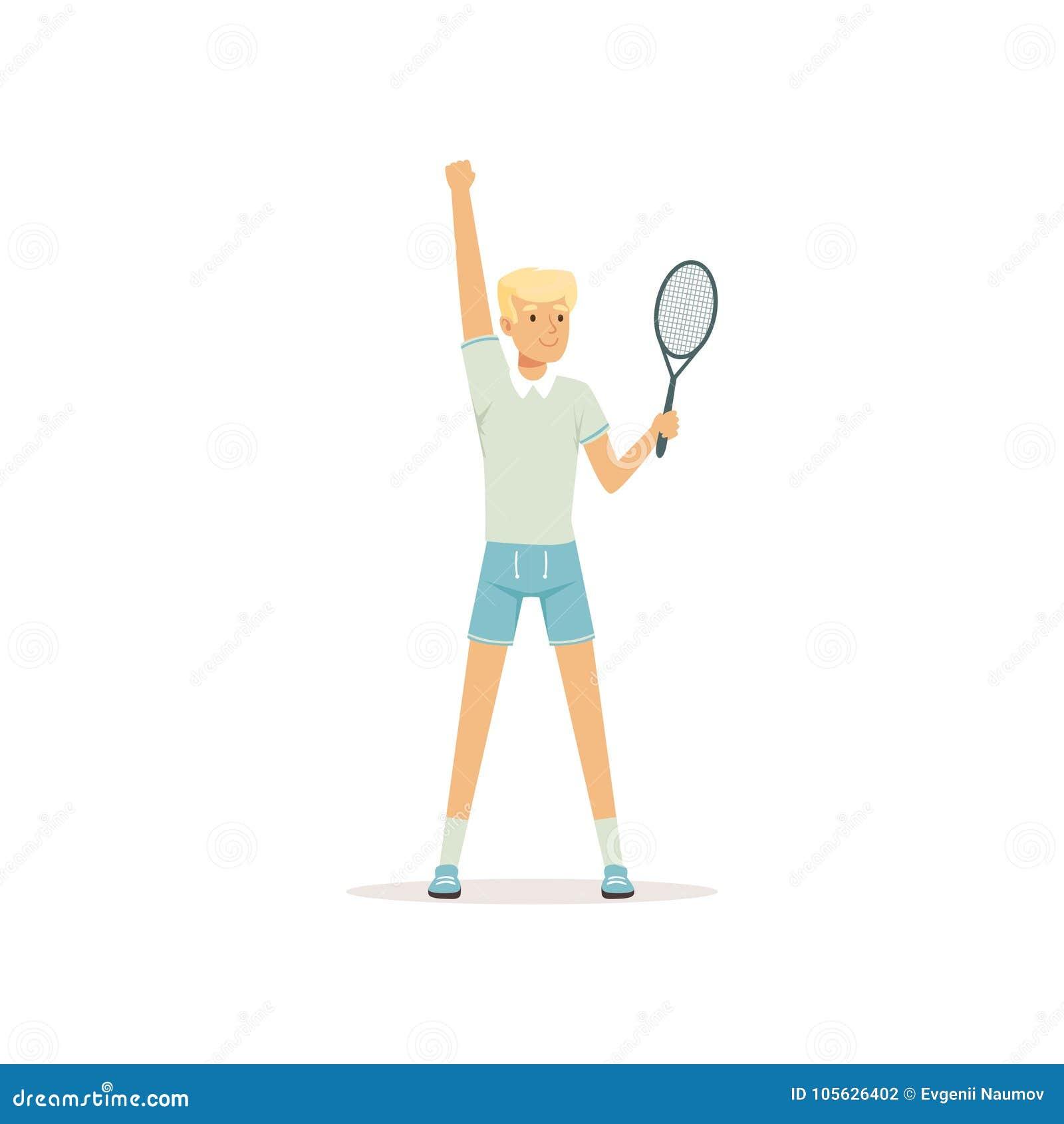 Jeune joueur de tennis se tenant avec la raquette à disposition Caractère d homme de bande dessinée Sport d été Illustration plat