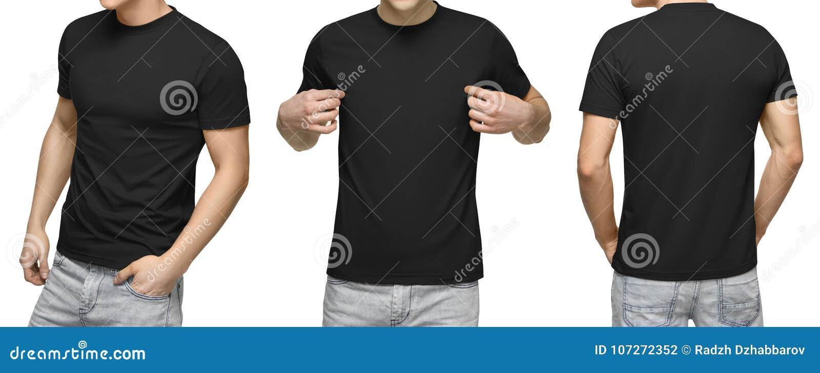 Jeune mâle dans le T-shirt noir vide, l avant et la vue arrière, fond blanc Concevez le calibre et la maquette de T-shirt d homme