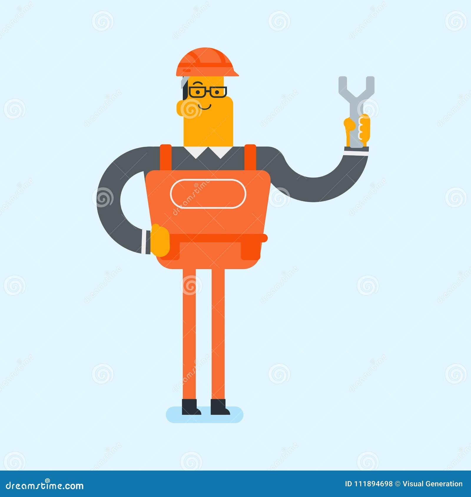 Jeune mécanicien blanc caucasien tenant une clé