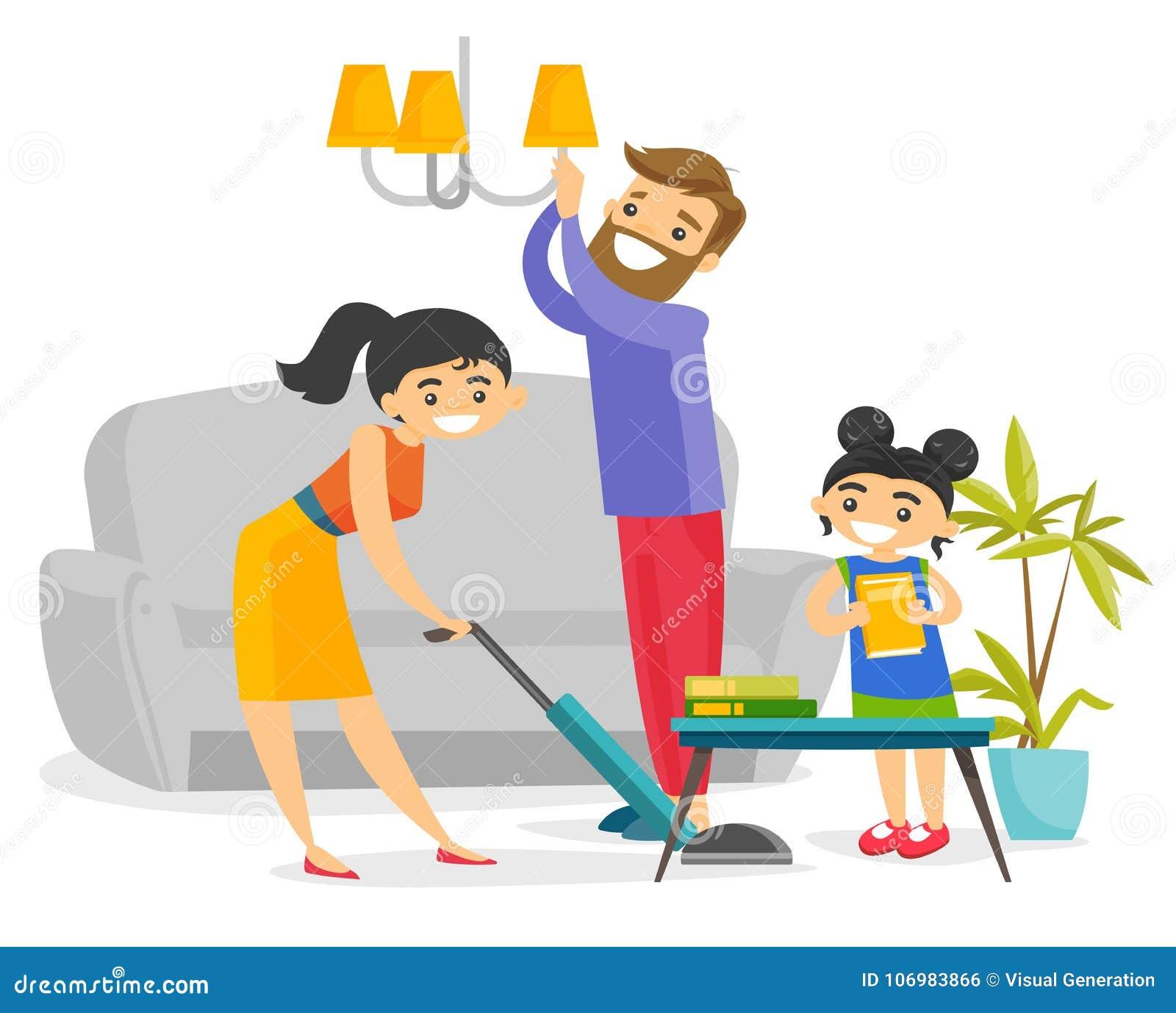 Jeune maison blanche caucasienne heureuse de nettoyage de famille