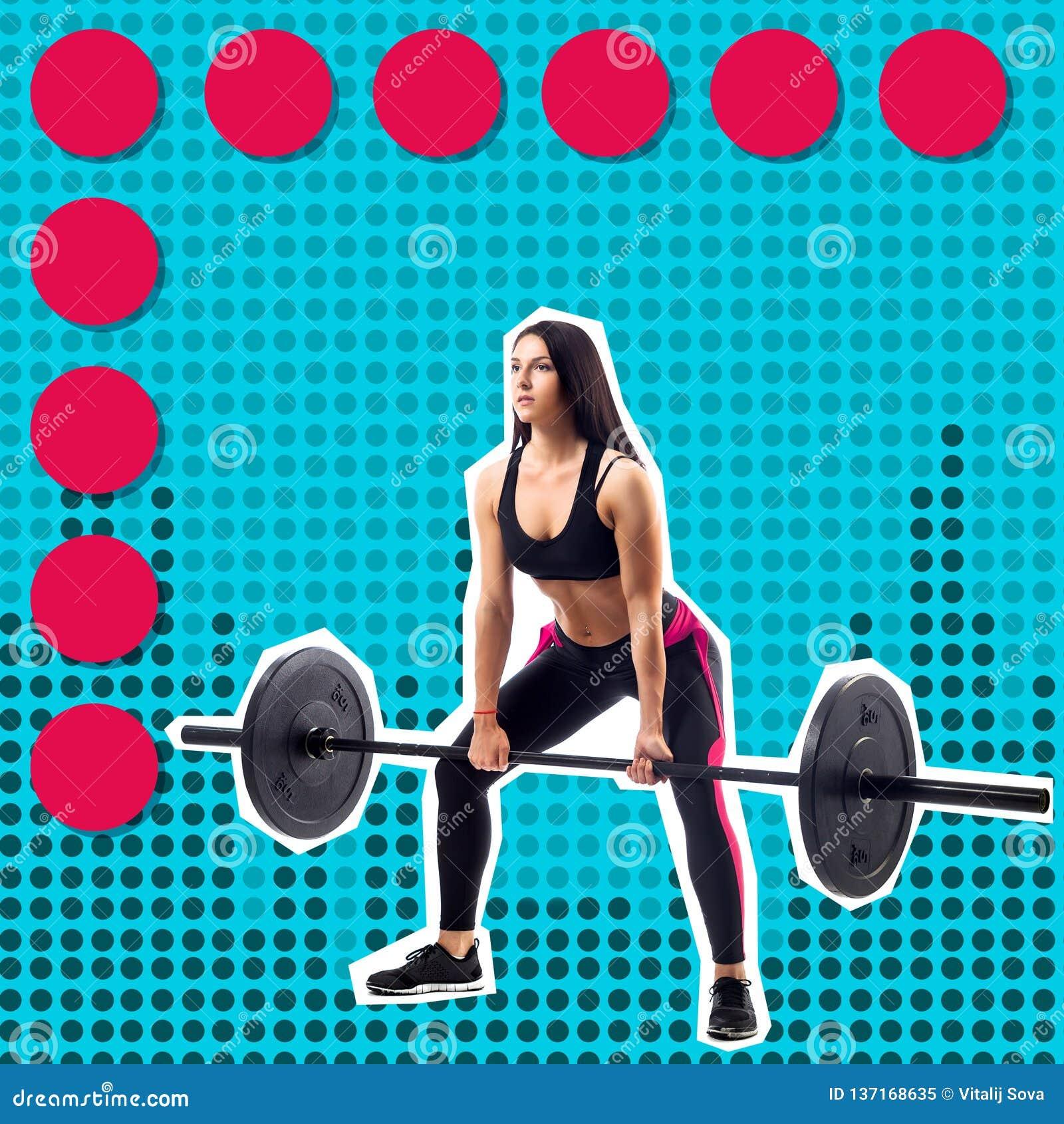 Jeune modèle sportif de forme physique de femme faisant le deadlift