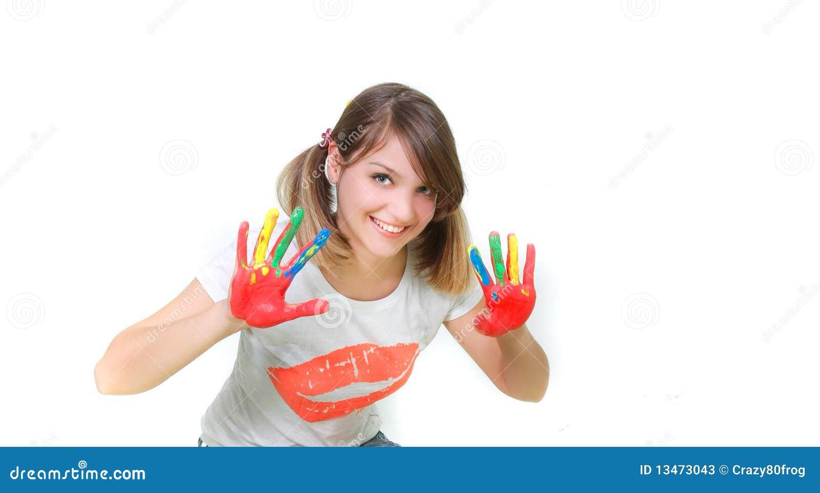 jeune peinture de sourire de fille photos stock image 13473043. Black Bedroom Furniture Sets. Home Design Ideas