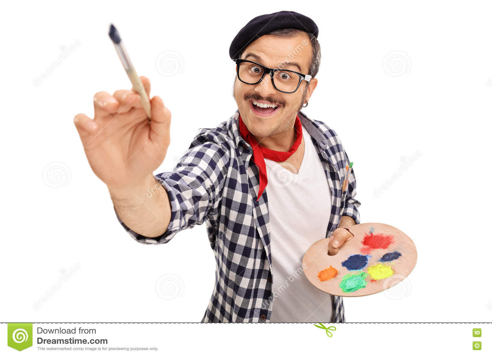 jeune peinture joyeuse d 39 artiste avec le pinceau photo stock image 71525370. Black Bedroom Furniture Sets. Home Design Ideas