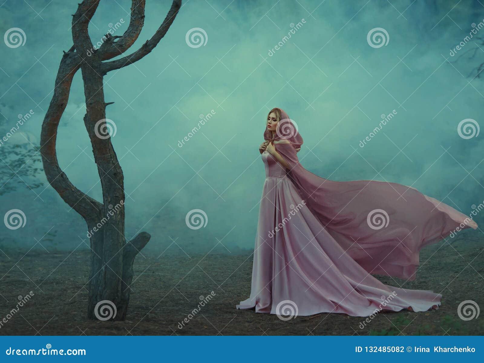 Jeune princesse magnifique d elfe avec les cheveux blonds, habillés dans une longue robe rose douce luxueuse chère, tenant une lu
