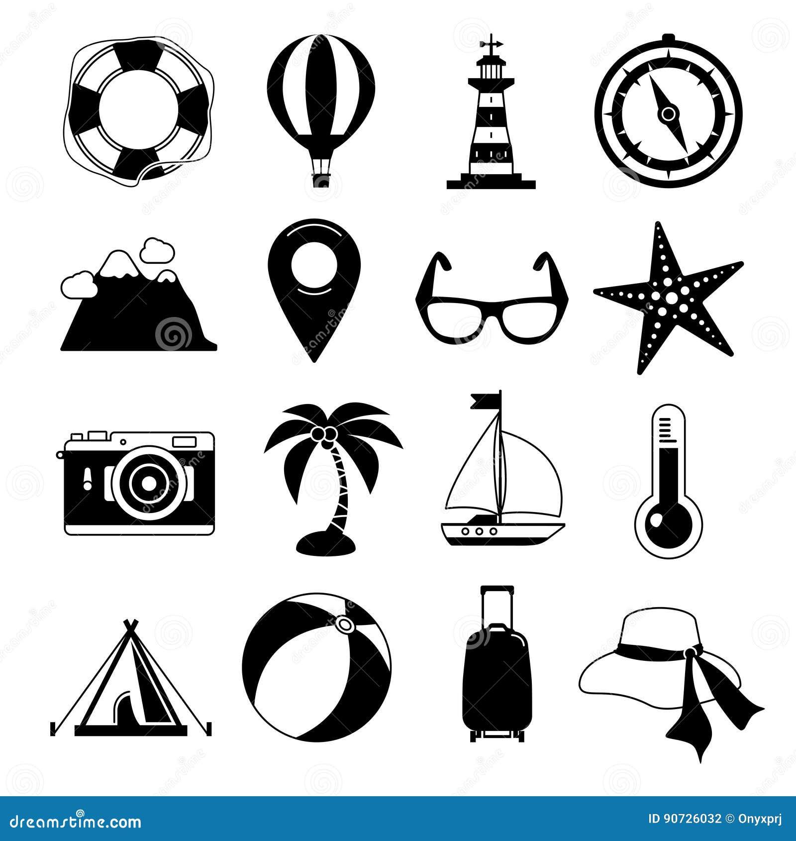Jeunes adultes Ensemble noir d icône de vecteur Lever de soleil, mer et visite de vacances Illustrations monochromes de loisirs