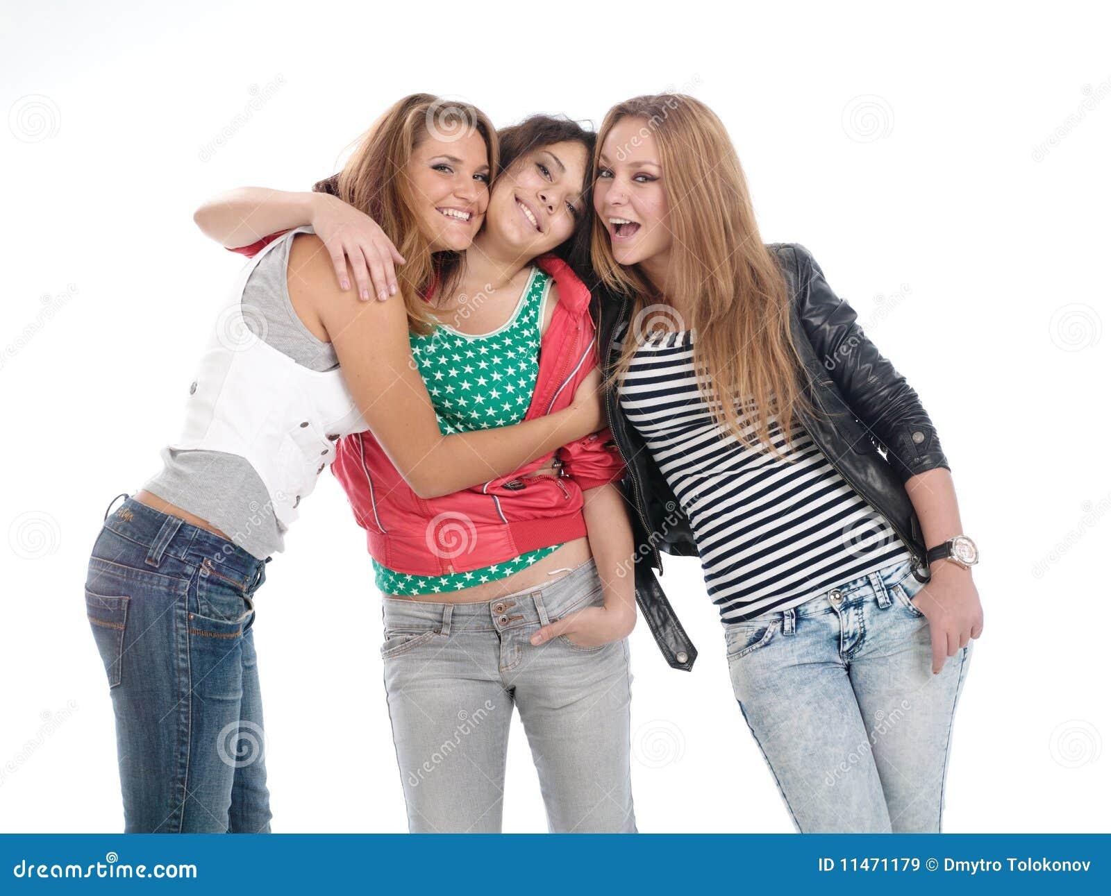 Jeunes années de l adolescence posant sur le blanc.