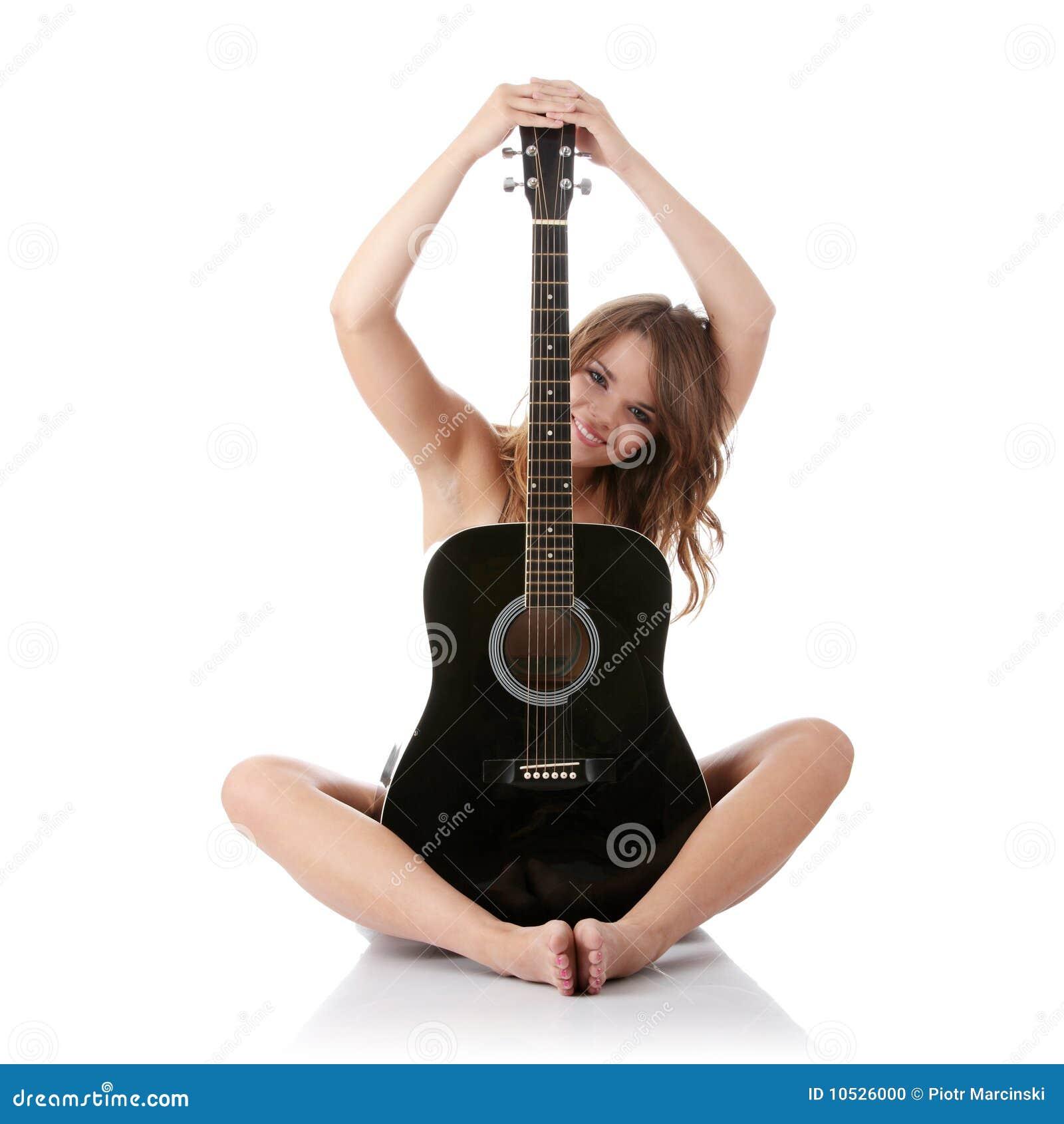 jeunes classiques noirs de femme de guitare photo stock image 10526000. Black Bedroom Furniture Sets. Home Design Ideas