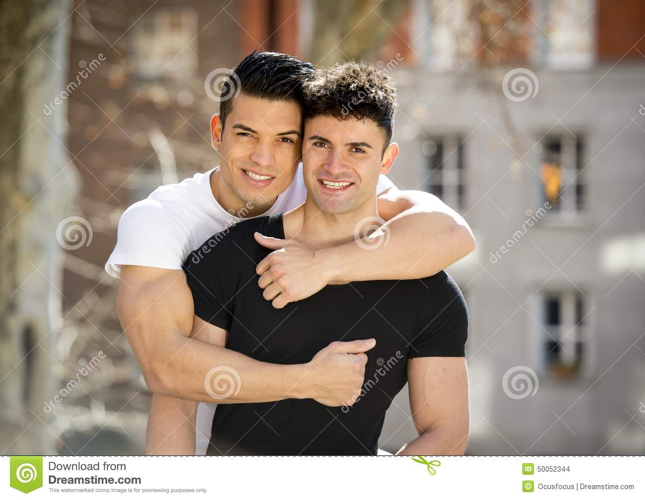 happy gay couple in office