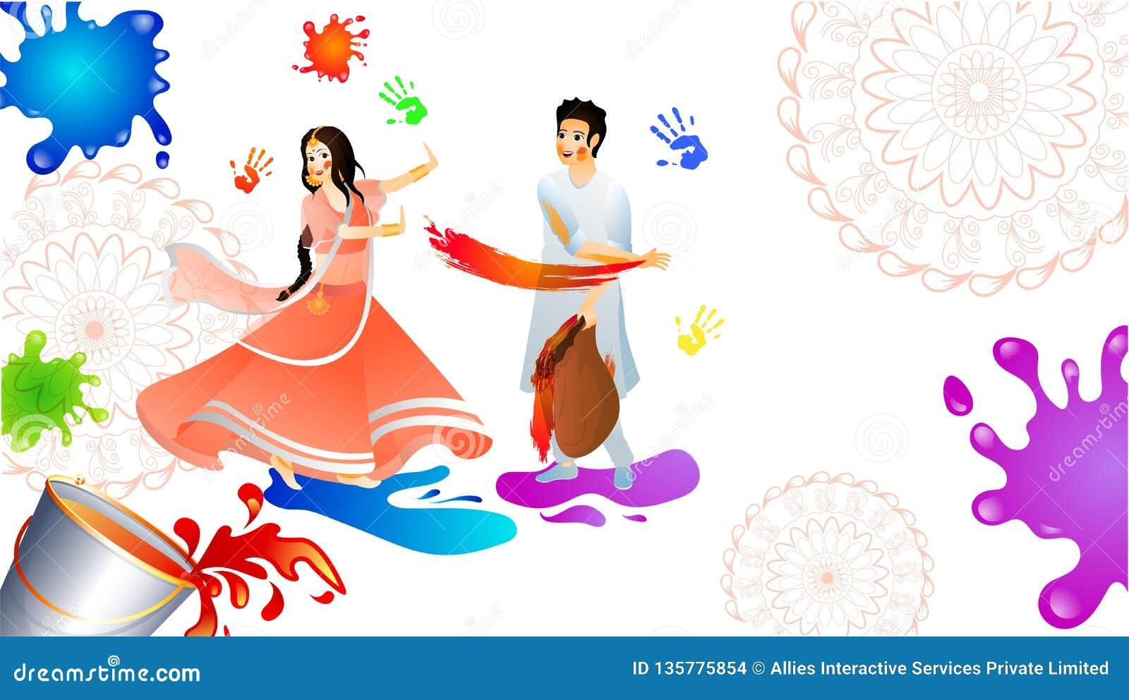 Jeunes couples jouant le holi ensemble sur le fond d éclaboussure de couleur