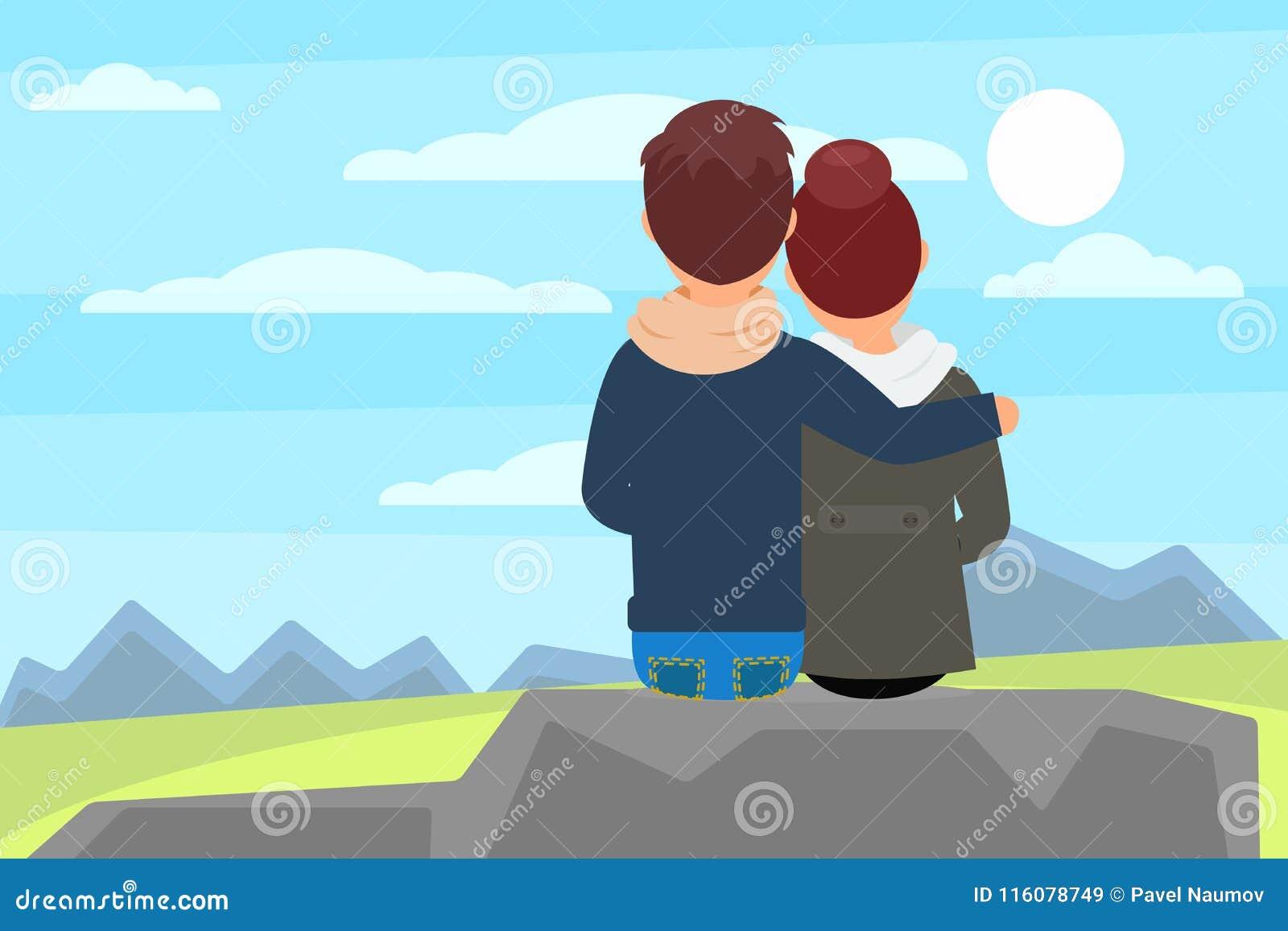 Jeunes couples se reposant sur la roche en pierre et appréciant le beau paysage de nature avec des montagnes Récréation extérieur