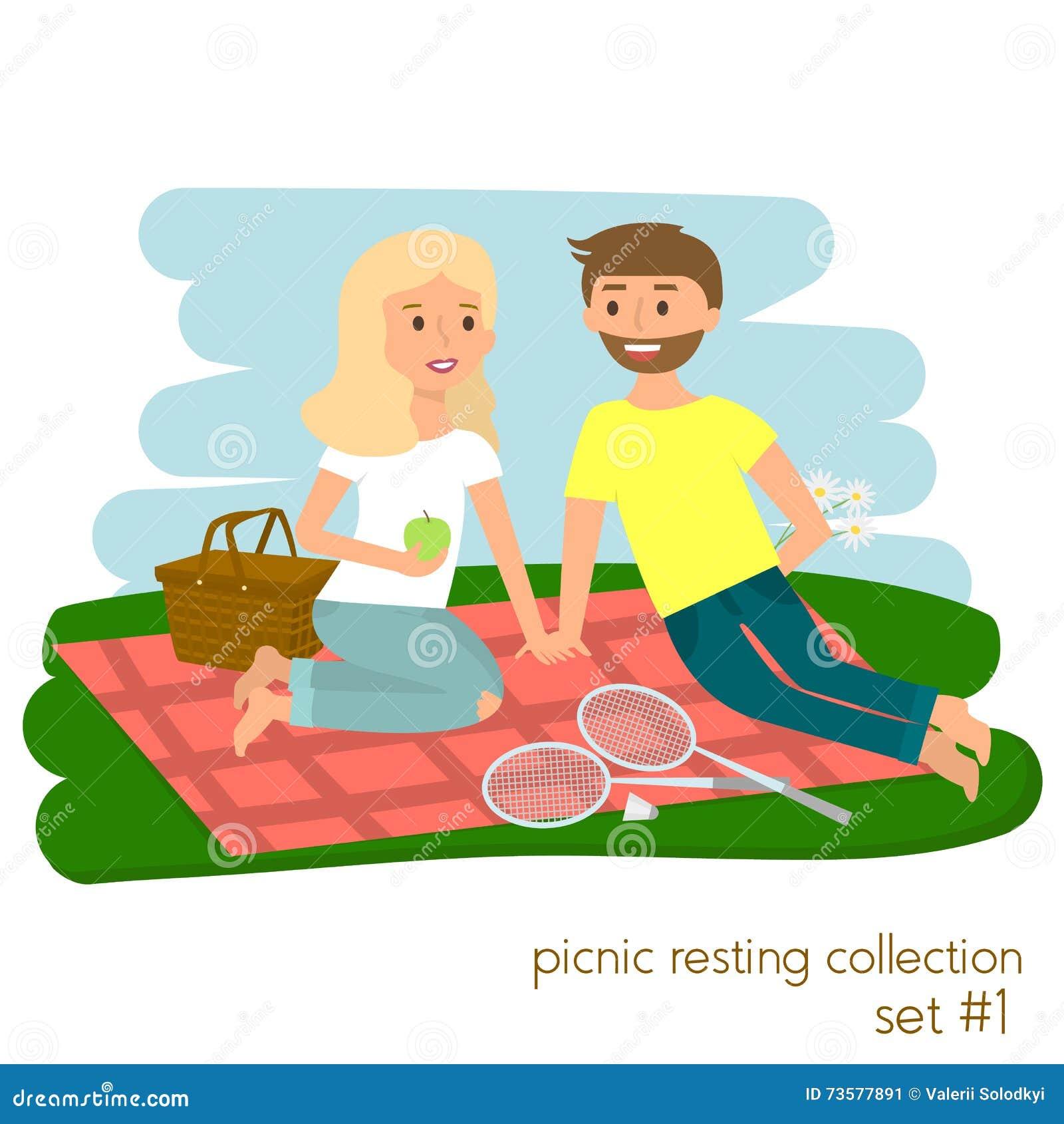 Jeunes couples sur le pique-nique ensemble Vacances de pique-nique de famille Parc heureux de mode de vie d été dehors Illustrati