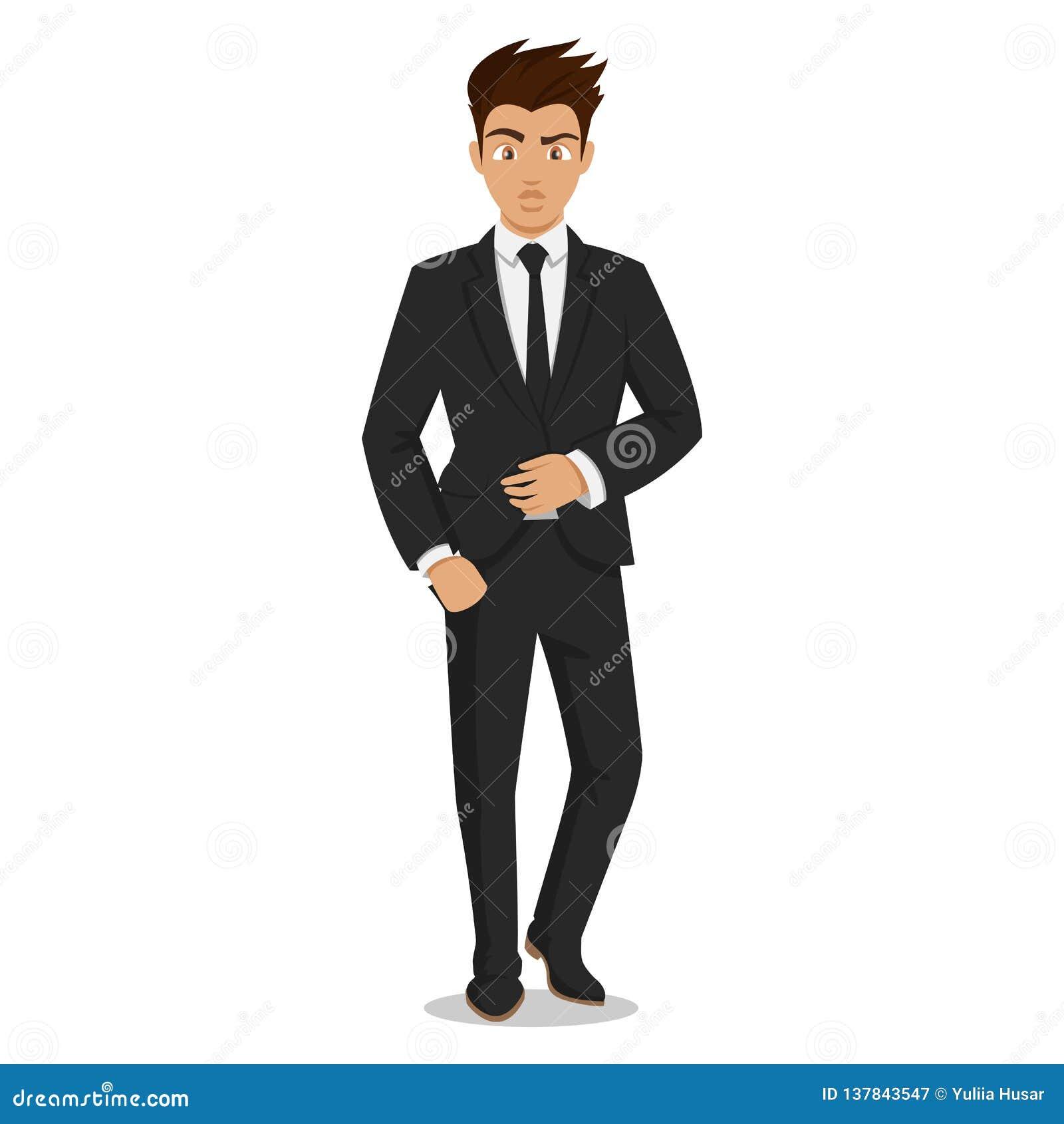 Jeunes hommes attirants dans des vêtements élégants de bureau Jeune homme d affaires Homme mignon de bande dessinée Les jeunes ré