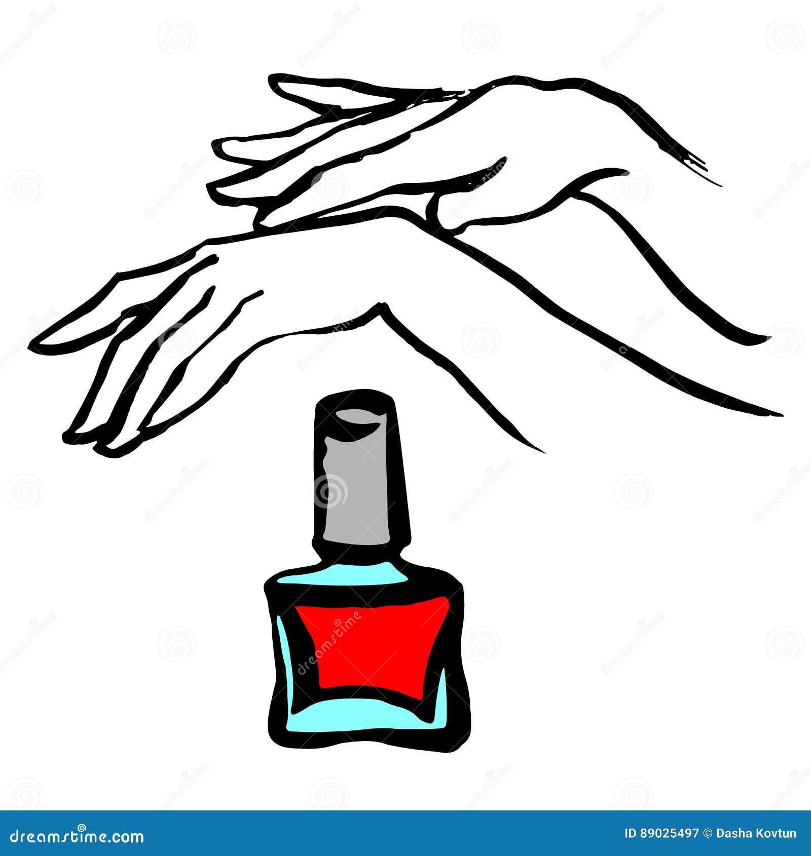 Jeunes mains femelles avec une bouteille rose de vernis à ongles Vecteur