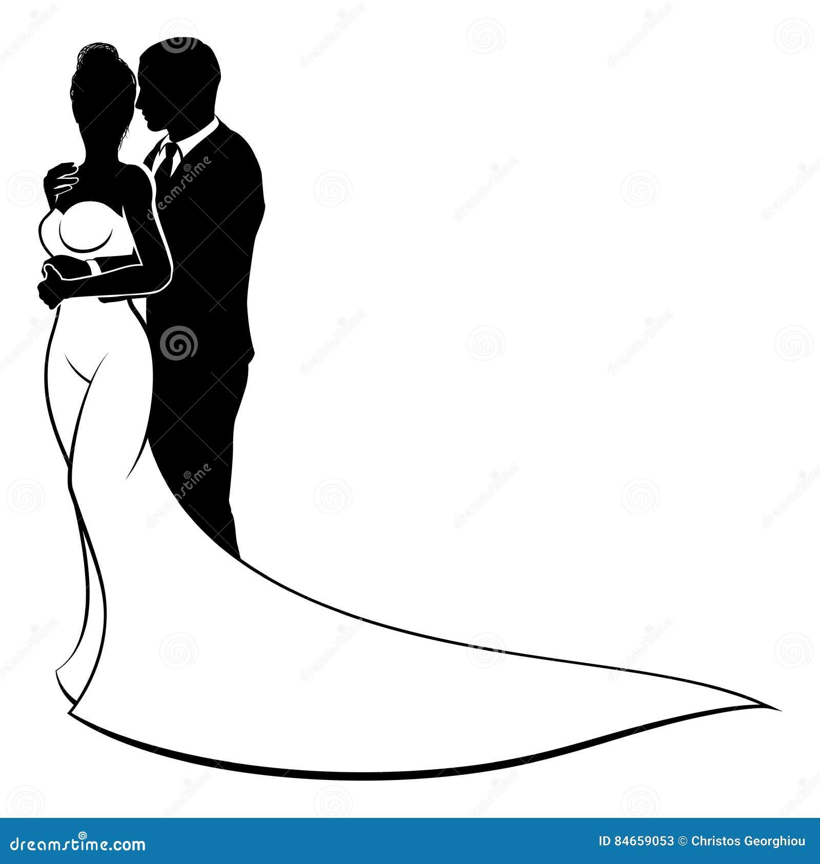 Jeunes Mariés Couple Wedding Silhouette Illustration De Vecteur Illustration Du Nuptiale Silhouette 84659053