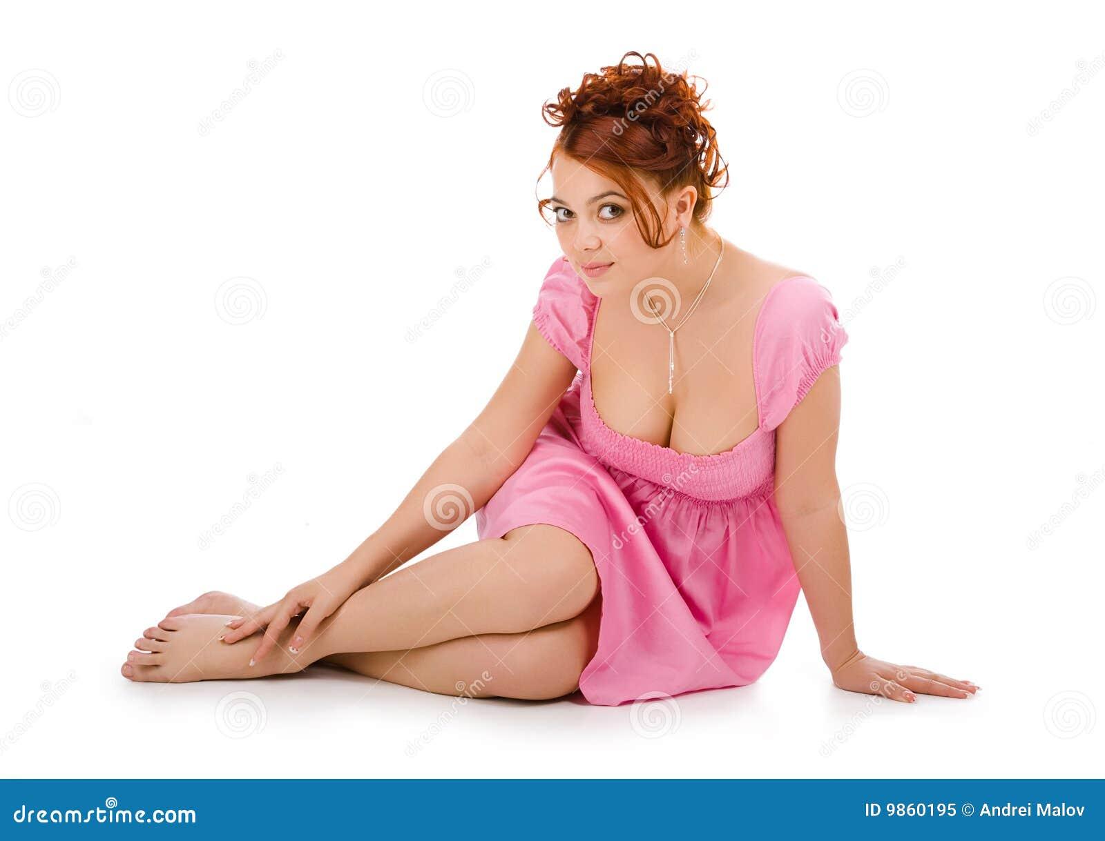 Jeunes roses de femme de robe