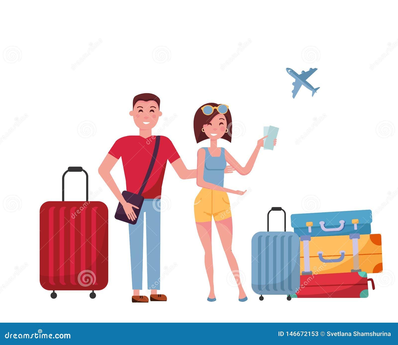 Jeunes touristes de couples avec des valises et sacs sur des roues sur le fond blanc scène à l aéroport, recherche de l informati