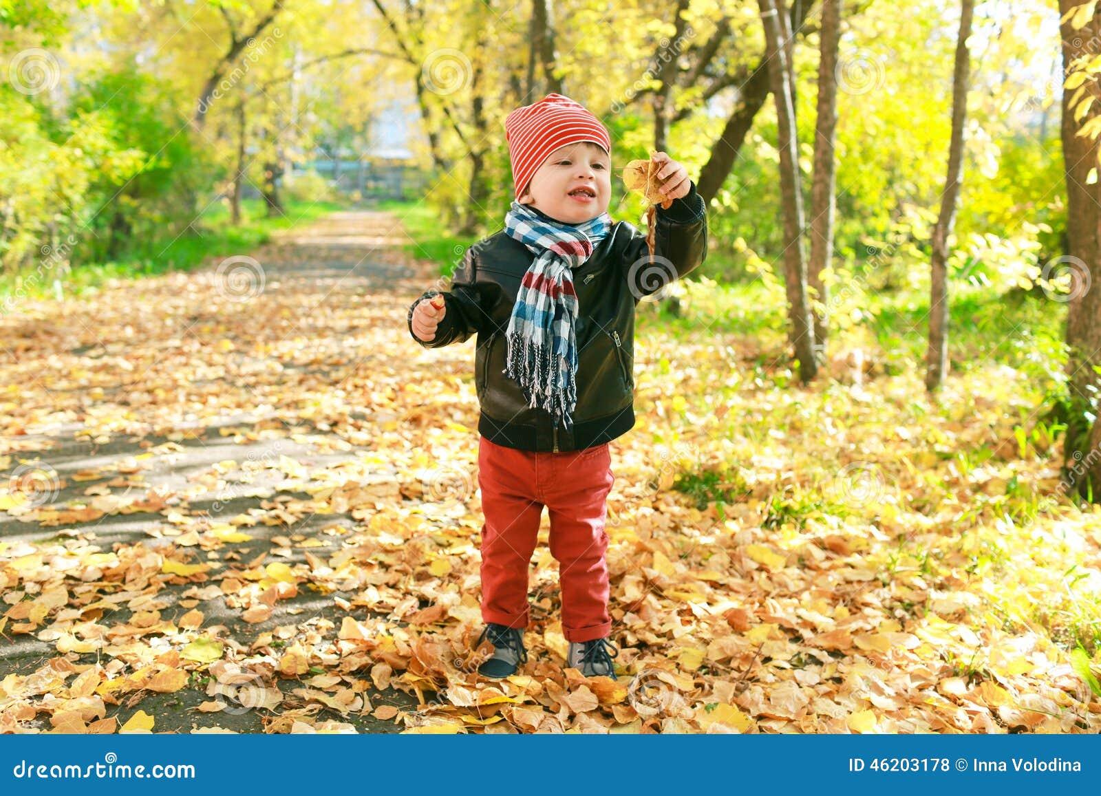 jeux de petit enfant heureux avec des feuilles en automne dehors photo stock image 46203178. Black Bedroom Furniture Sets. Home Design Ideas