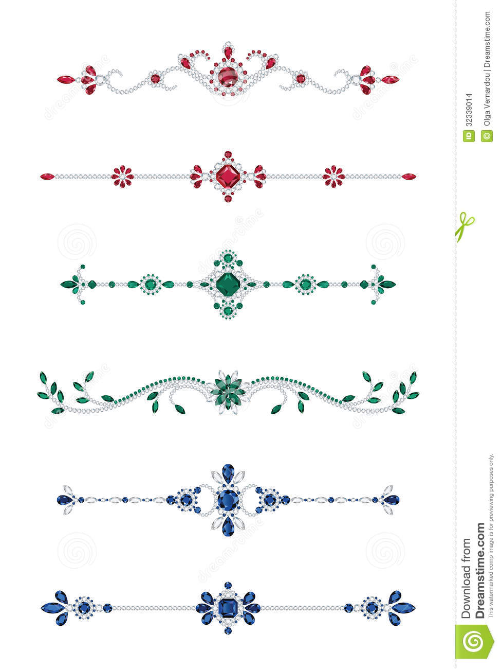 Jewel Dividers Stock Vector Illustration Of Intricate