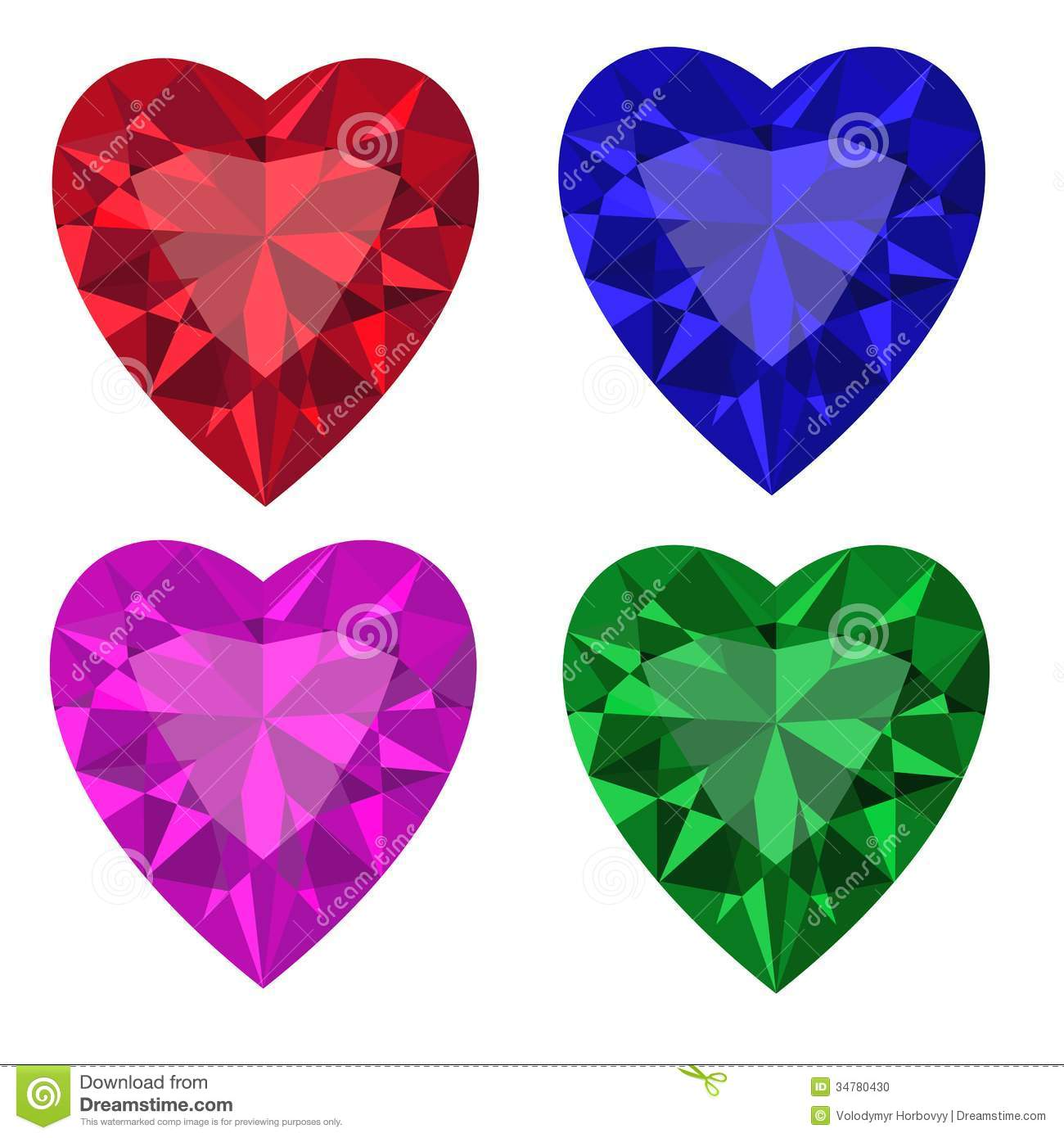 Jewel set. Heart. Vector illustration. Clip Art.