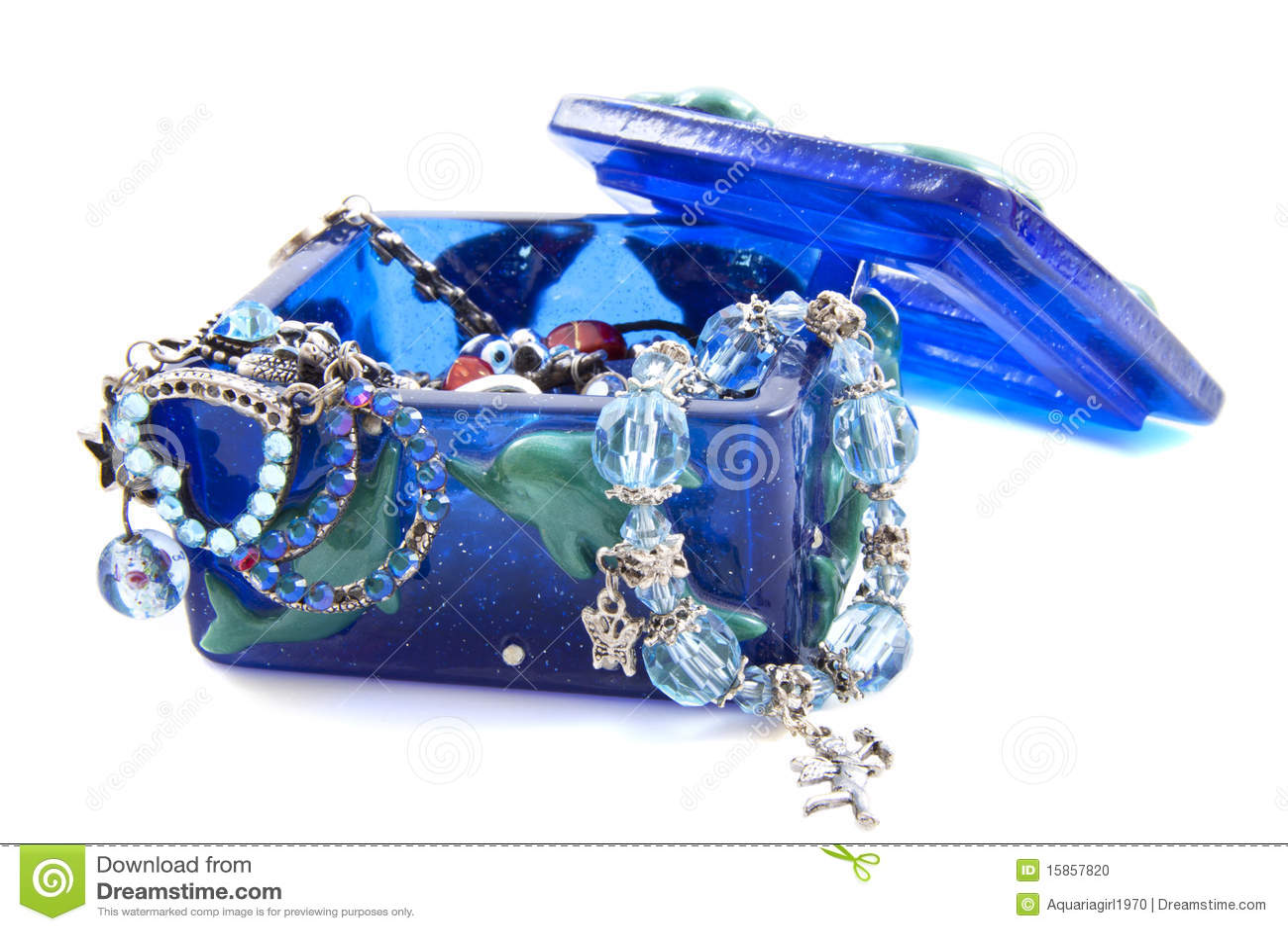 Jewelbox azul con las joyas