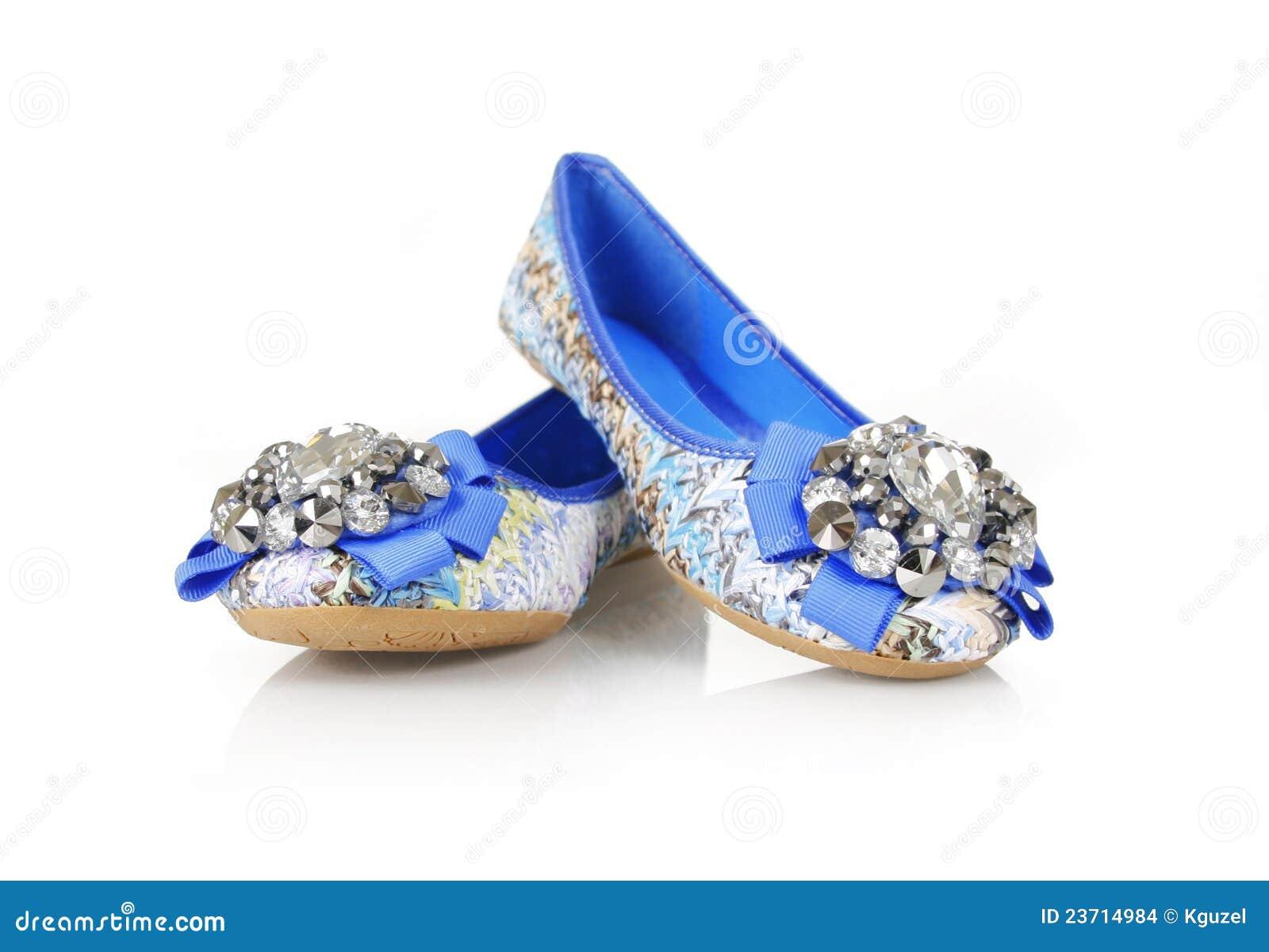 21e219504 Jeweled blue flats shoes stock photo. Image of fashion - 23714984