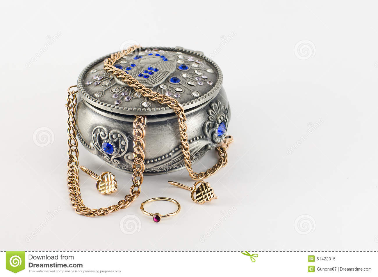 Jewellery Box With Gold Jewelry Stock Image Image of adornment