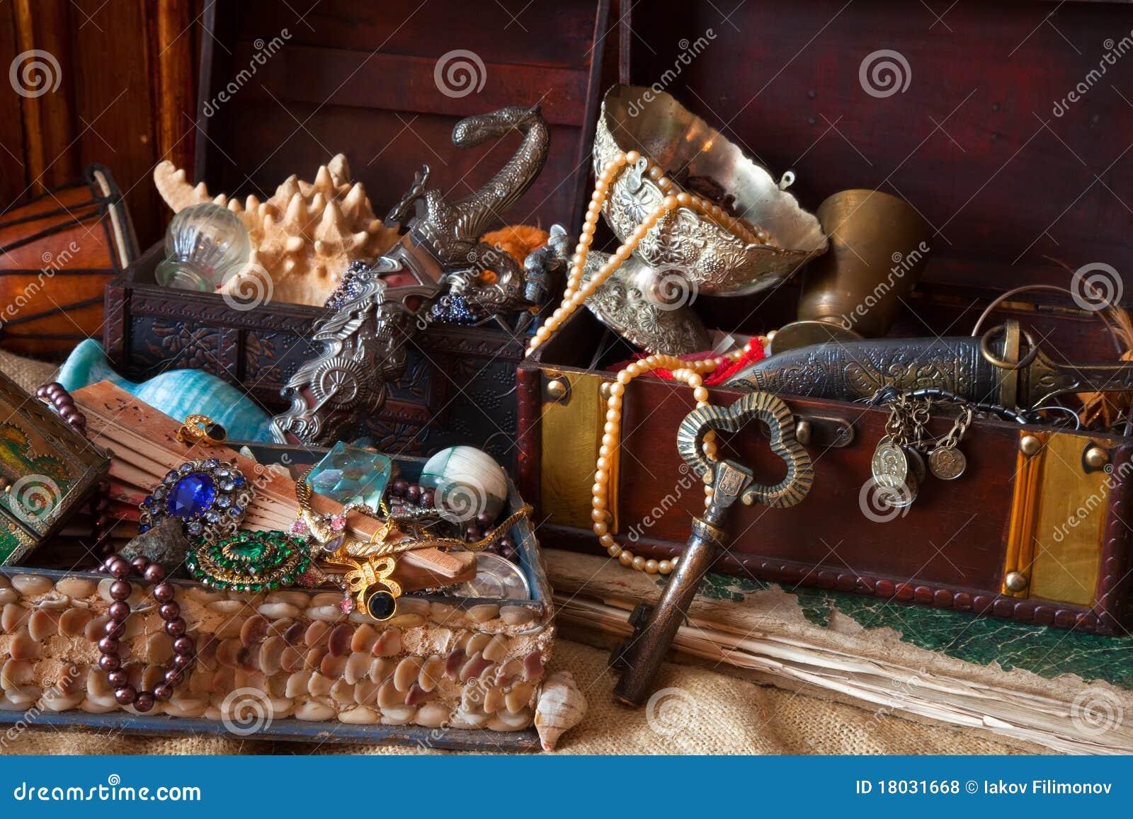 Jewellery stary skarbu bagażników rocznik