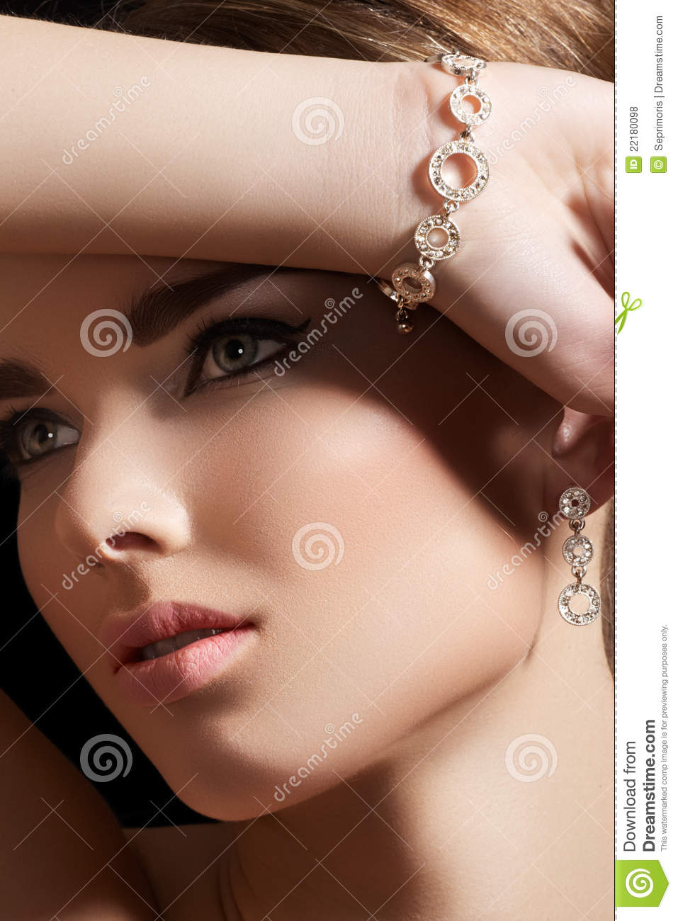 Jewelry Accessories. Model With Diamond Bracelet Royalty ...