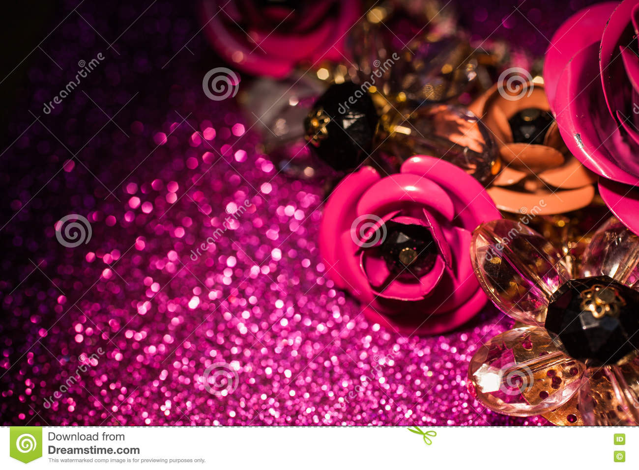 Jewelry Background With Luxury Flowers On Pink Glitter Stock Image