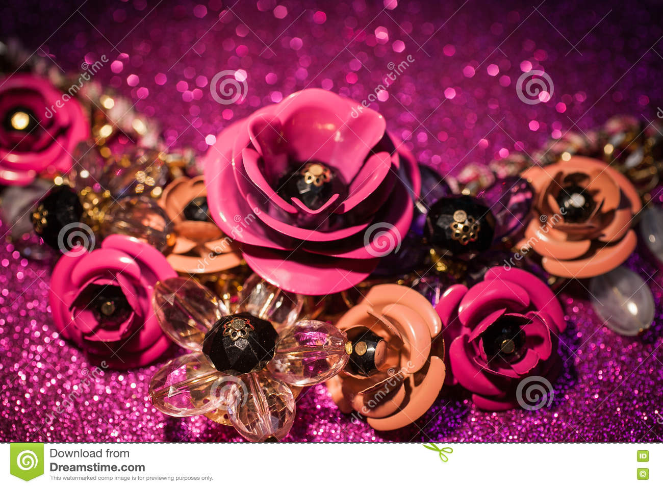 Jewelry Background With Luxury Flowers On Pink Glitter Stock Photo