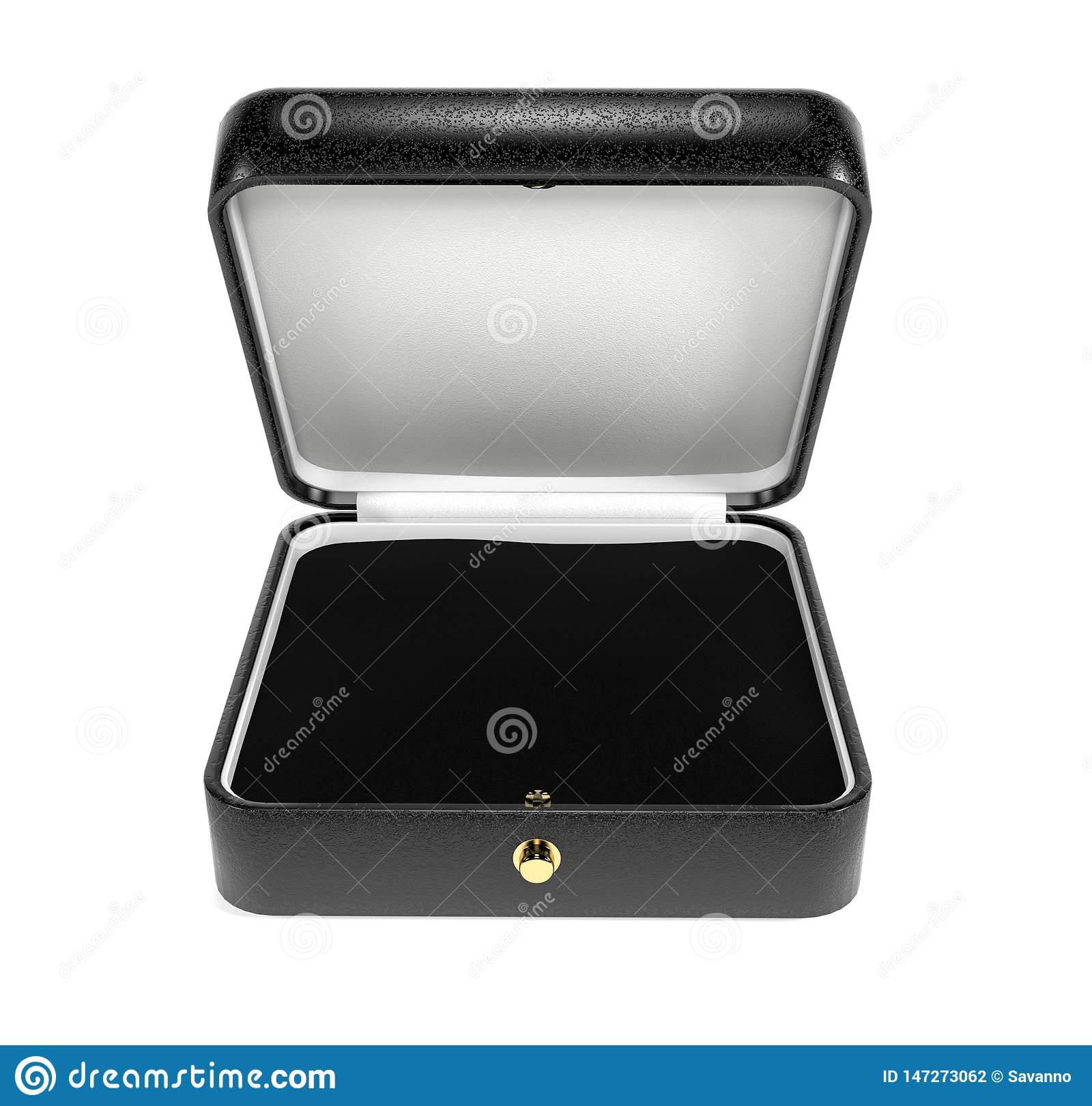 Jewelry Box. Black Open Box With Velvet Lining. 3d ...