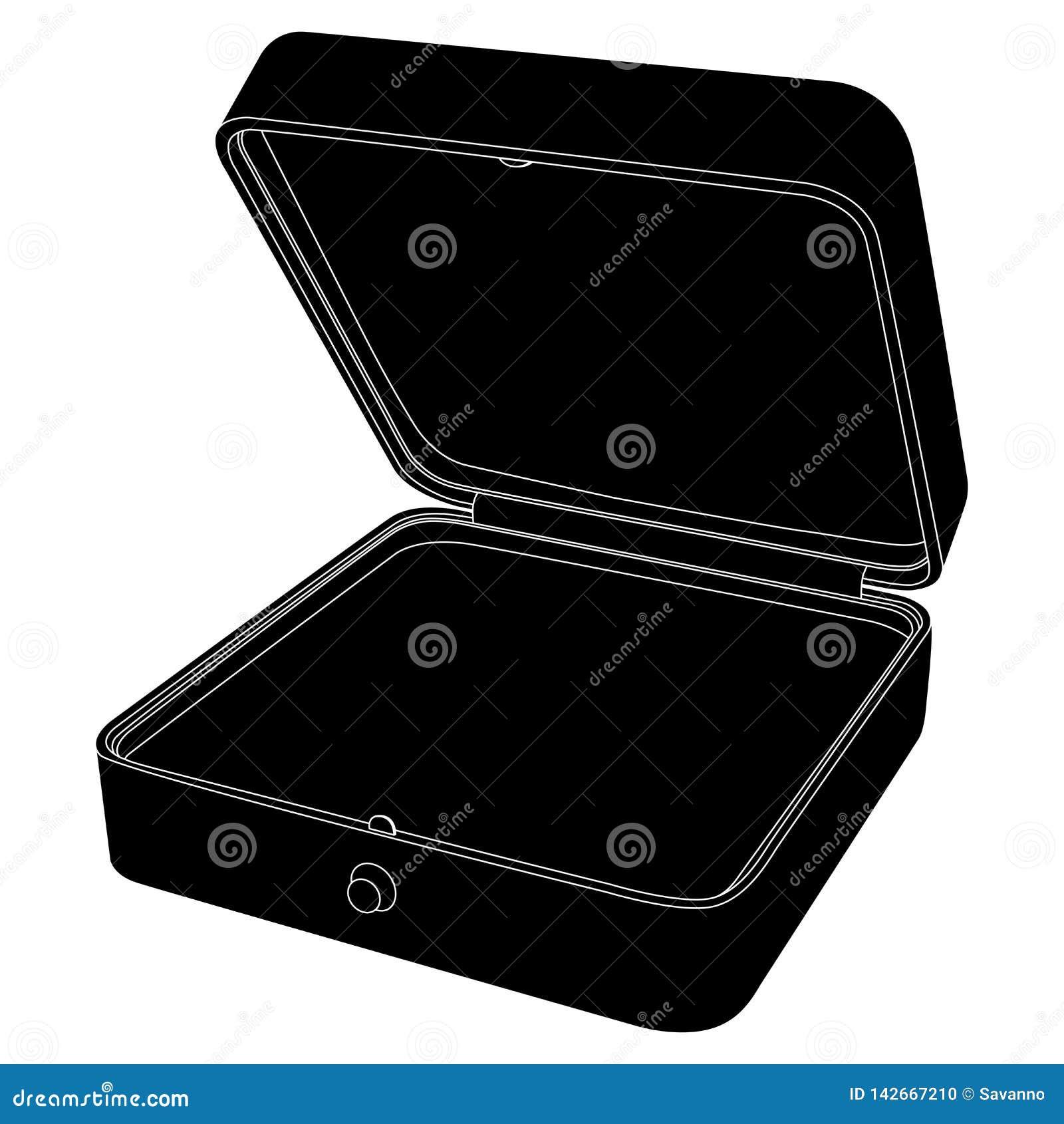 Jewelry Box. Empty Open Gift Box. Black Icon Stock Vector ...