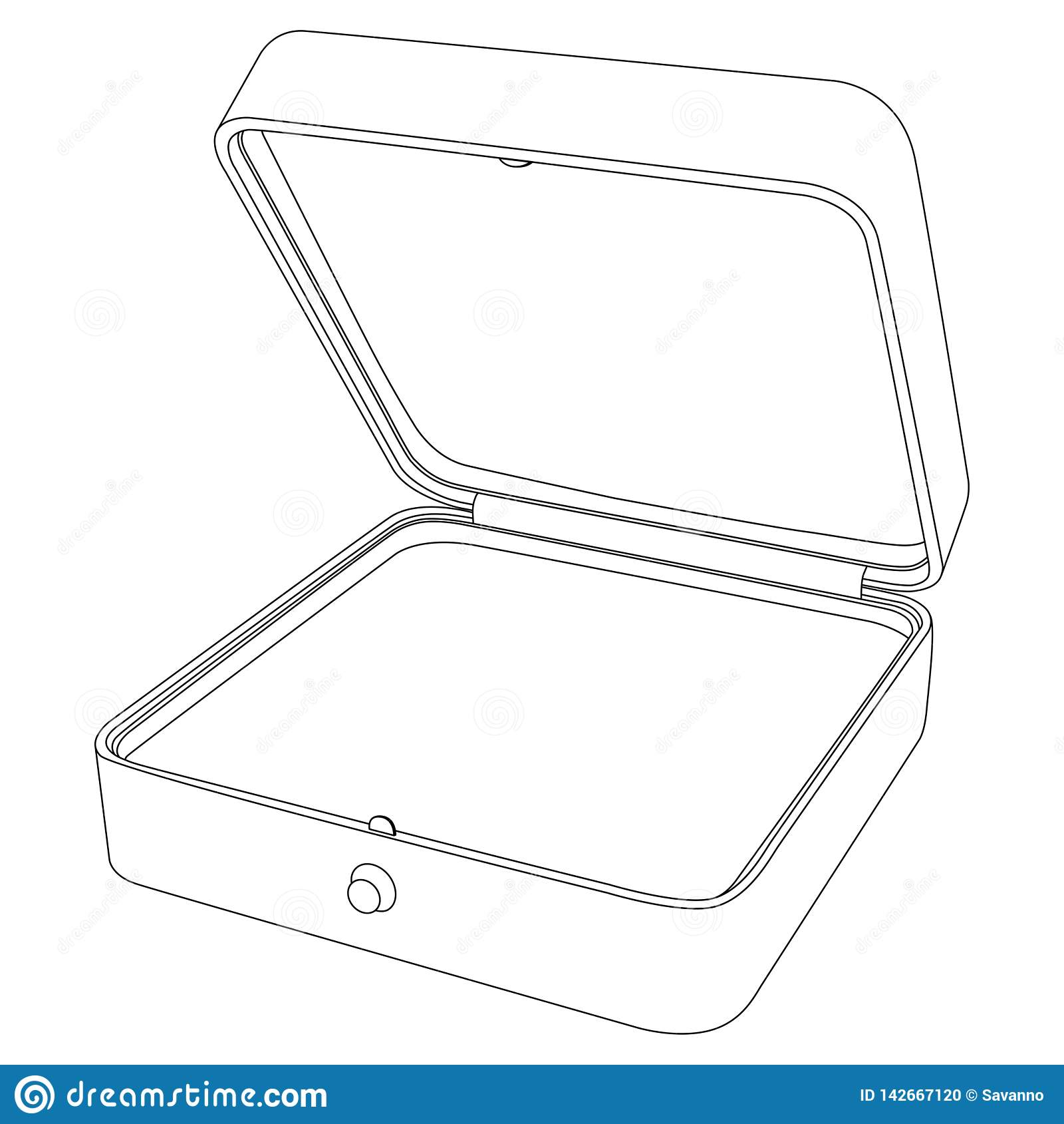 Jewelry Box. Empty Open Gift Box. Outline Icon Stock ...