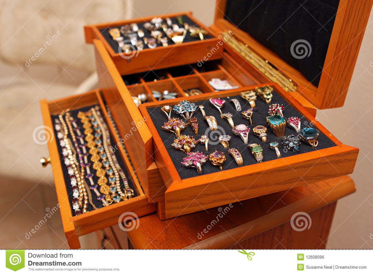 Jewelry Box With Rings And Bracelets Stock Photo - Image ...