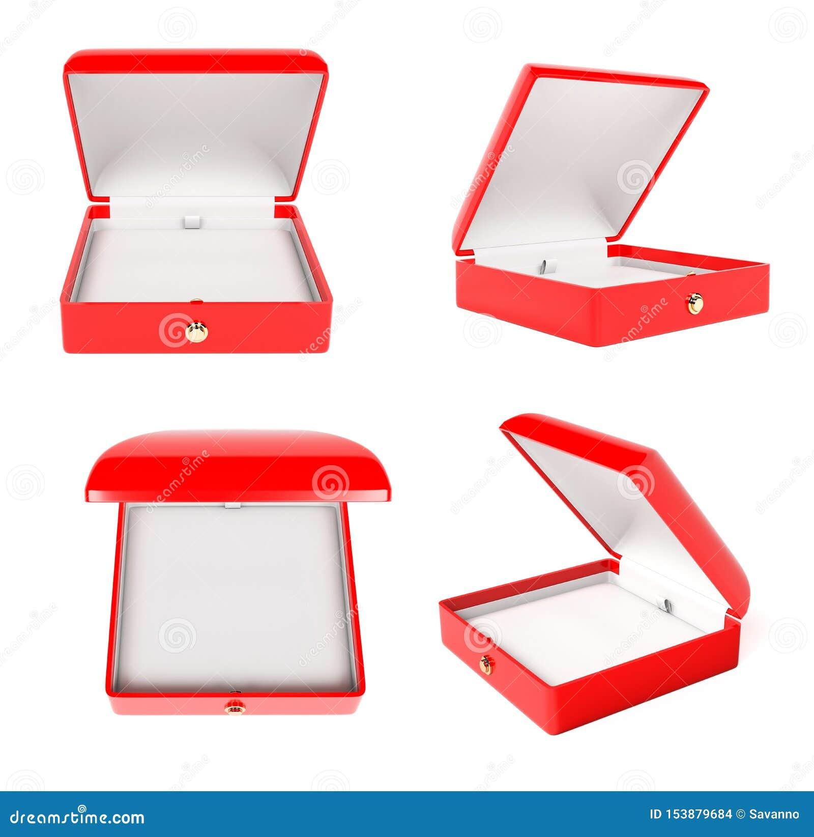 Jewelry Box Set. Open Empty Case For Jewels. 3d Rendering ...