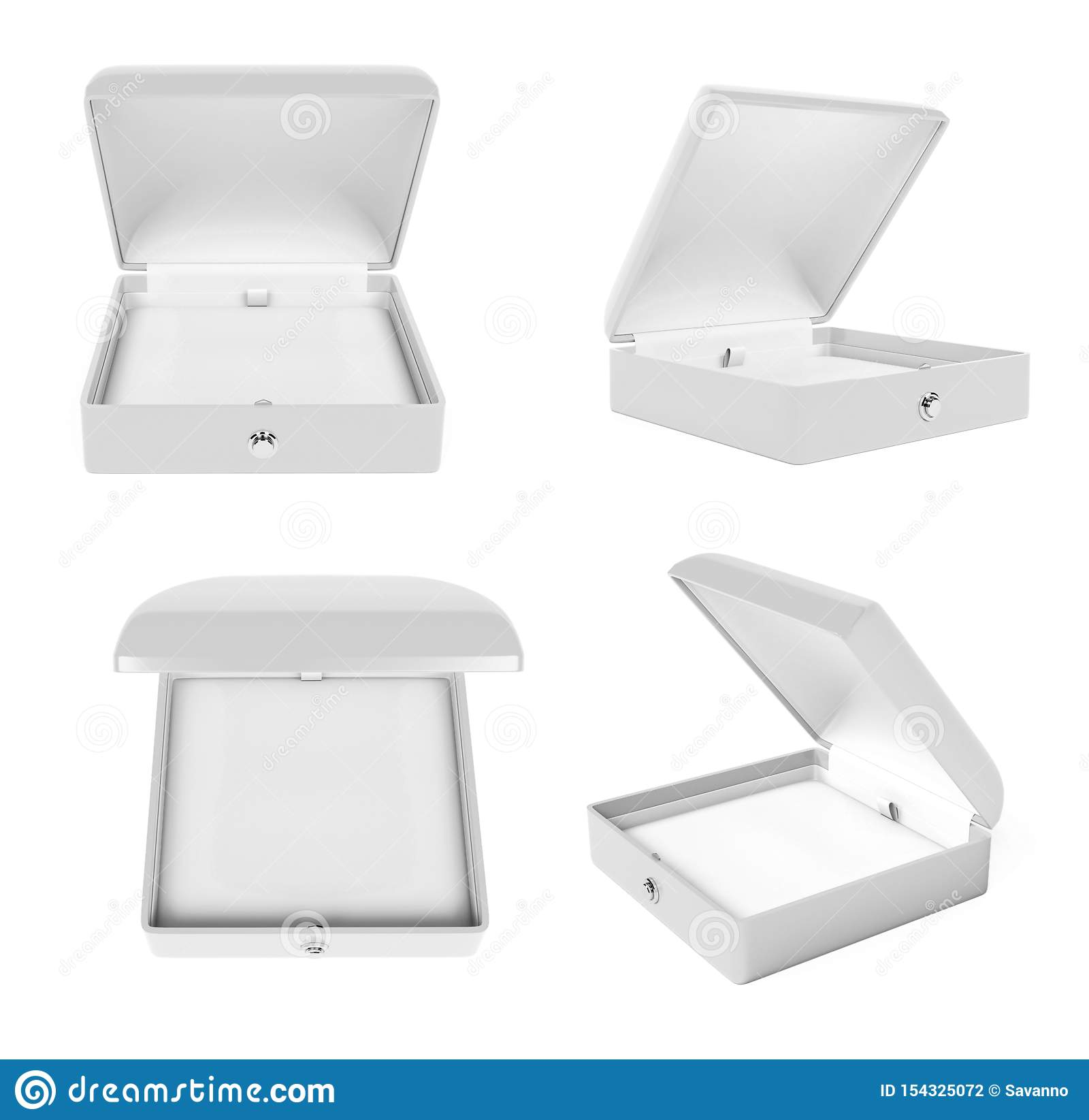 Jewelry Box Set. White Open Empty Case For Jewels. 3d ...