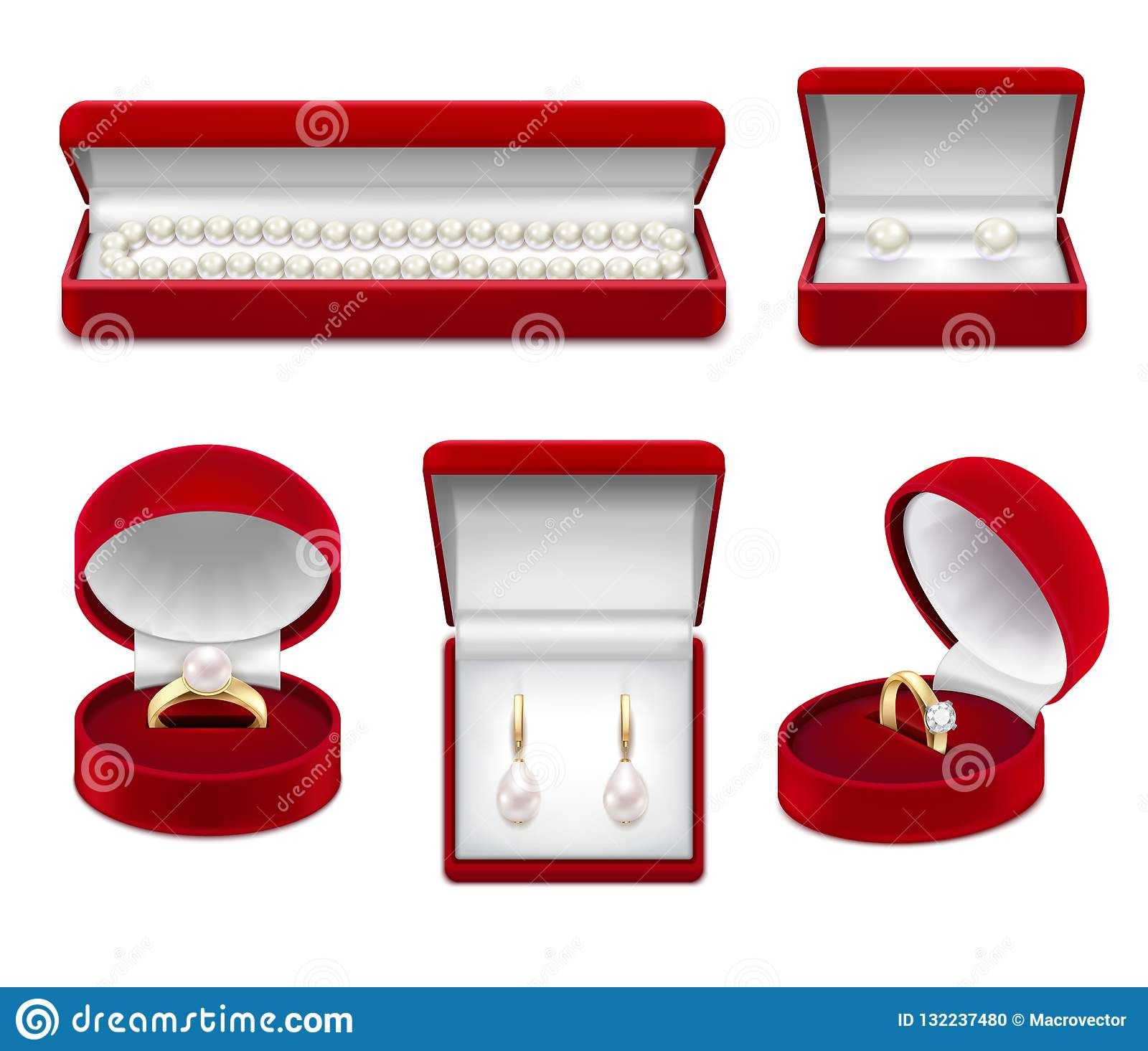 Jewelry In Boxes Realistic Set Stock Vector - Illustration ...