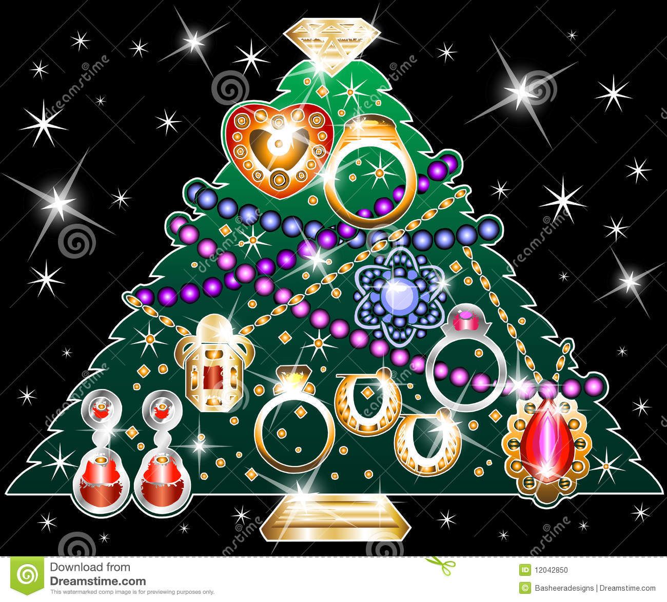 Jewelry Christmas Tree 2 Stock Illustration Illustration Of