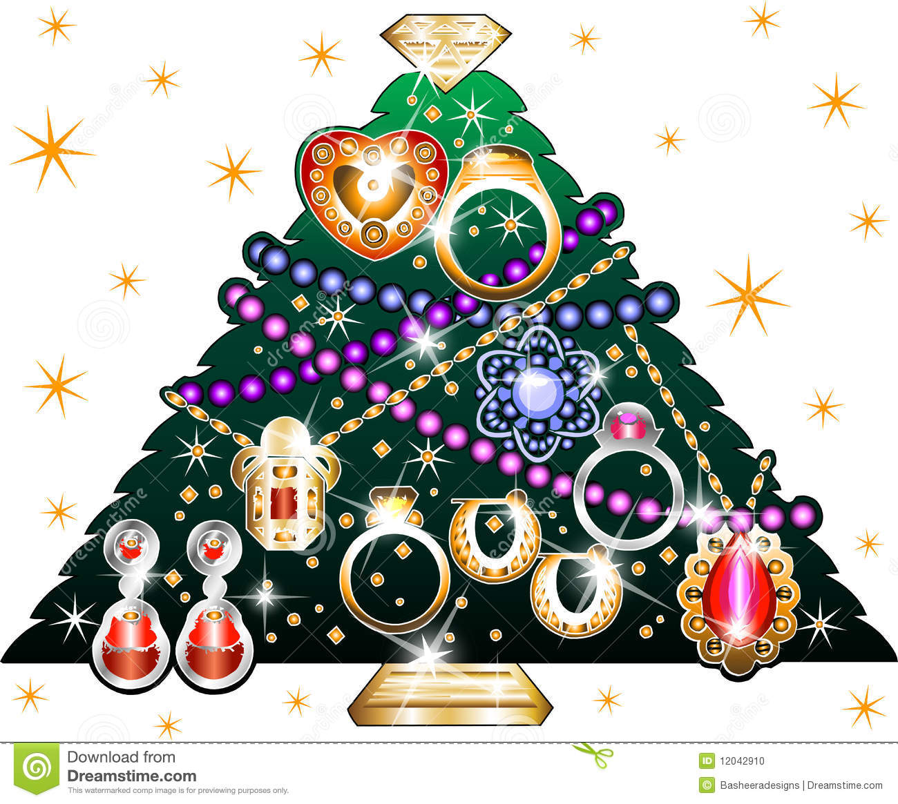 Jewelry Christmas Tree 3 stock vector. Illustration of beads - 12042910