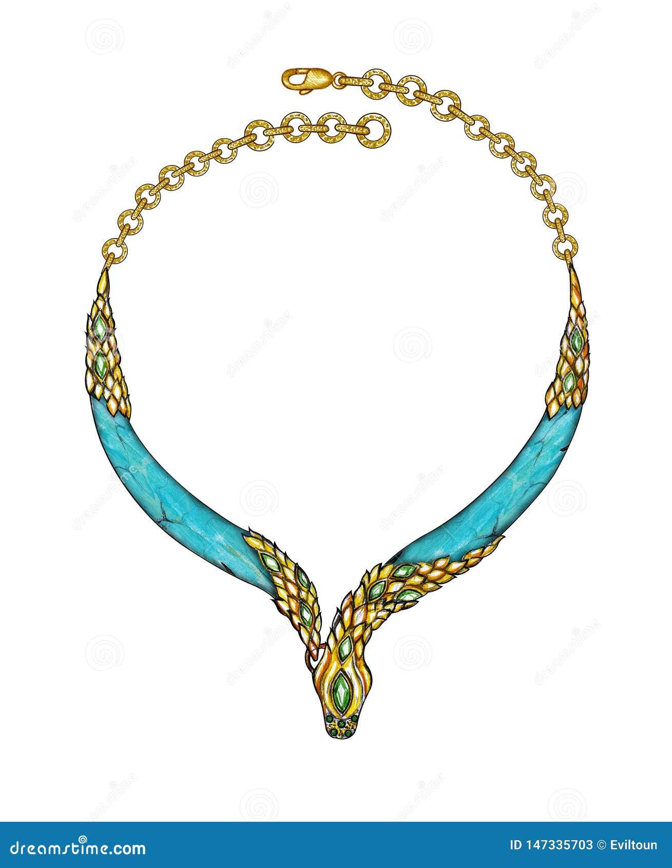 Jewelry Design Art Snake Necklace Stock Illustration