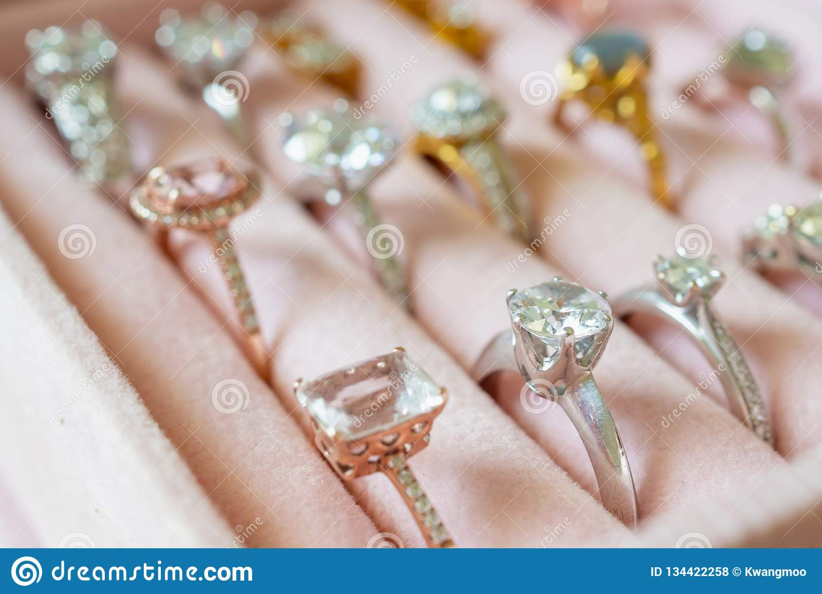 Jewelry Diamond Rings And Earrings In Box Stock Photo Image Of