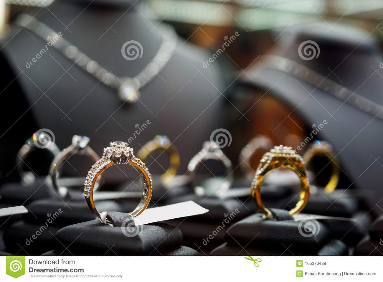 Jewelry diamond rings and necklaces show in luxury retail store