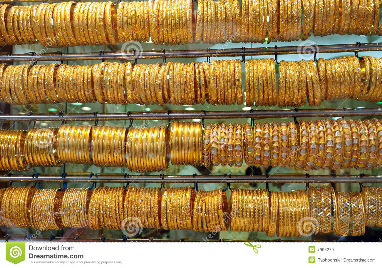 Jewelry At Dubai S Gold Souq Royalty Free Stock Images