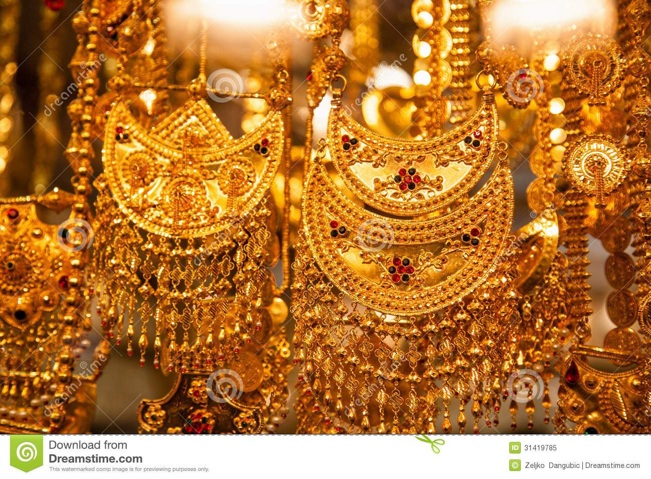 Jewelry At Dubais Gold Souq Stock Image Image of arabic objects