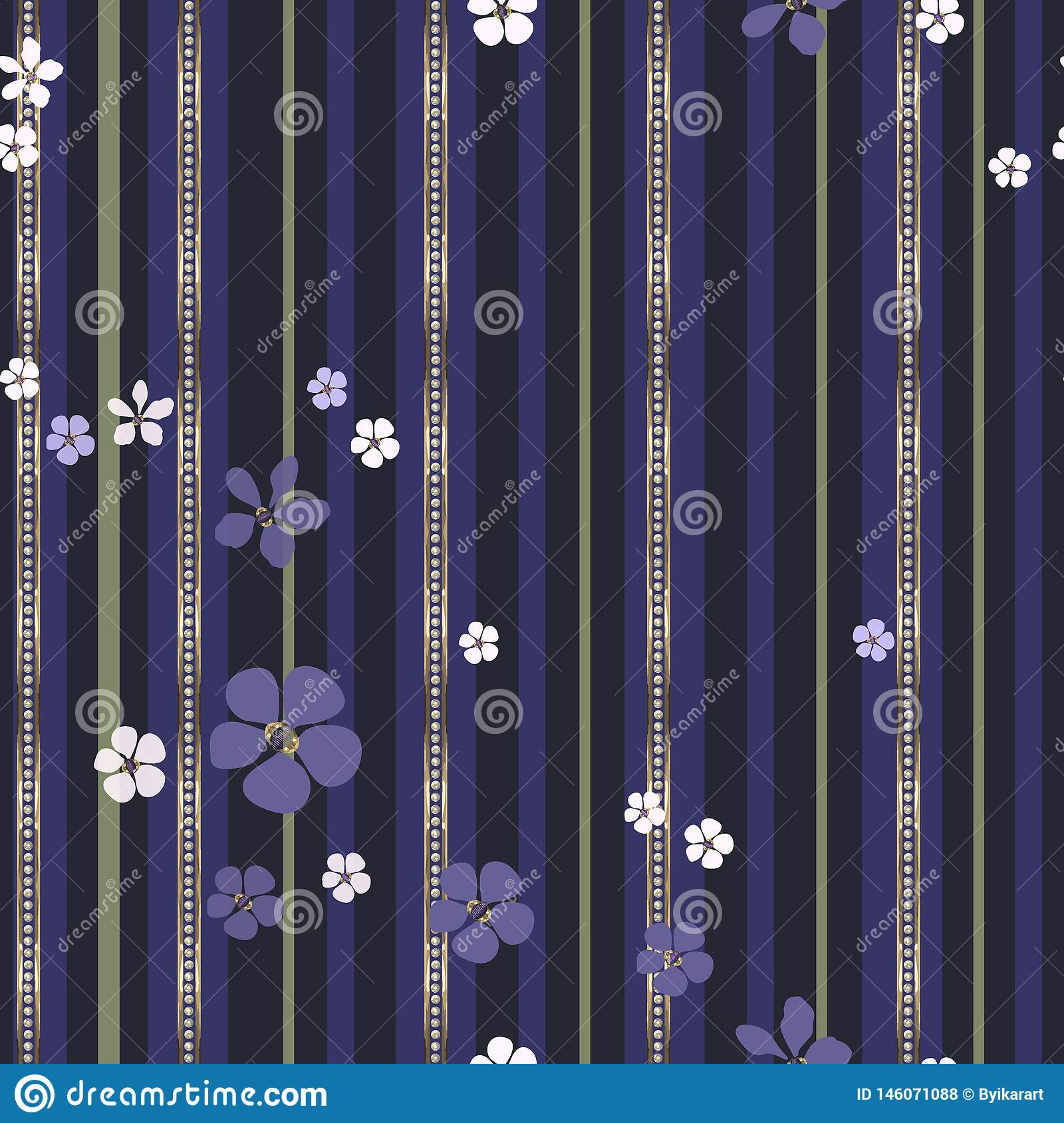 Abstract white and purple flowers and gold strips with diamonds.