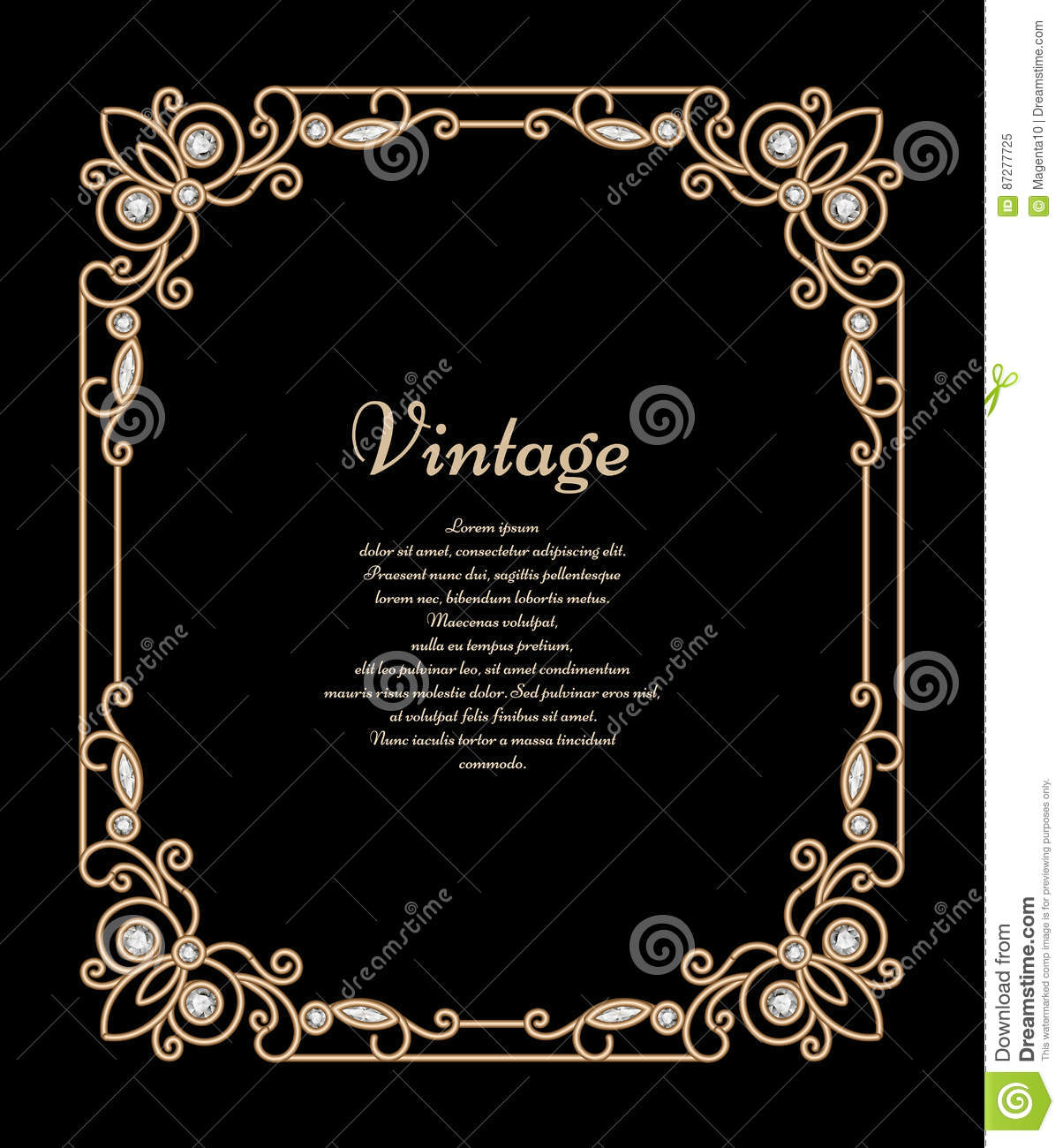 Jewelry gold rectangle frame stock vector illustration of download comp stopboris