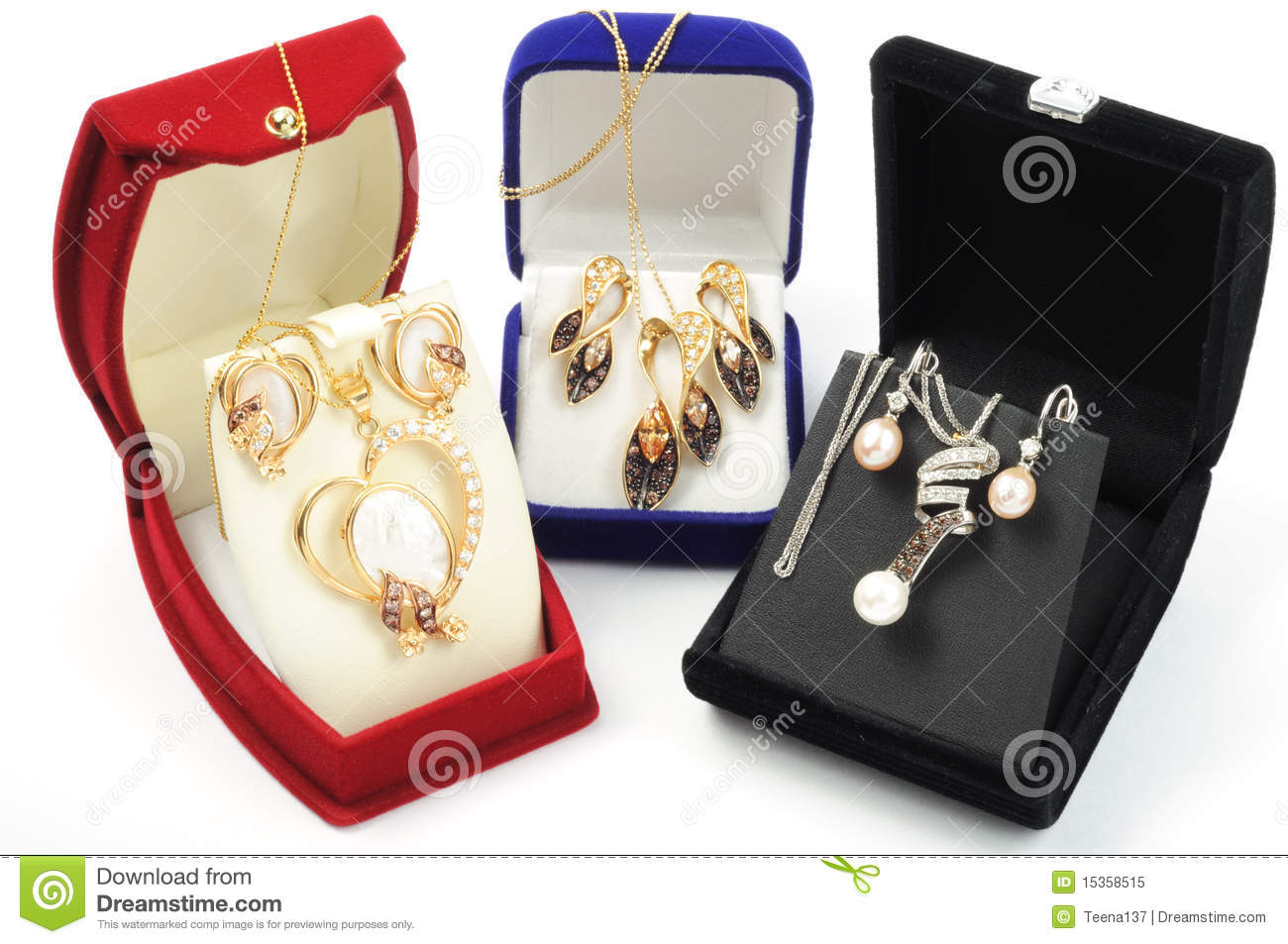 Old Jewelery Sets With Romanian Prices Stock Photo